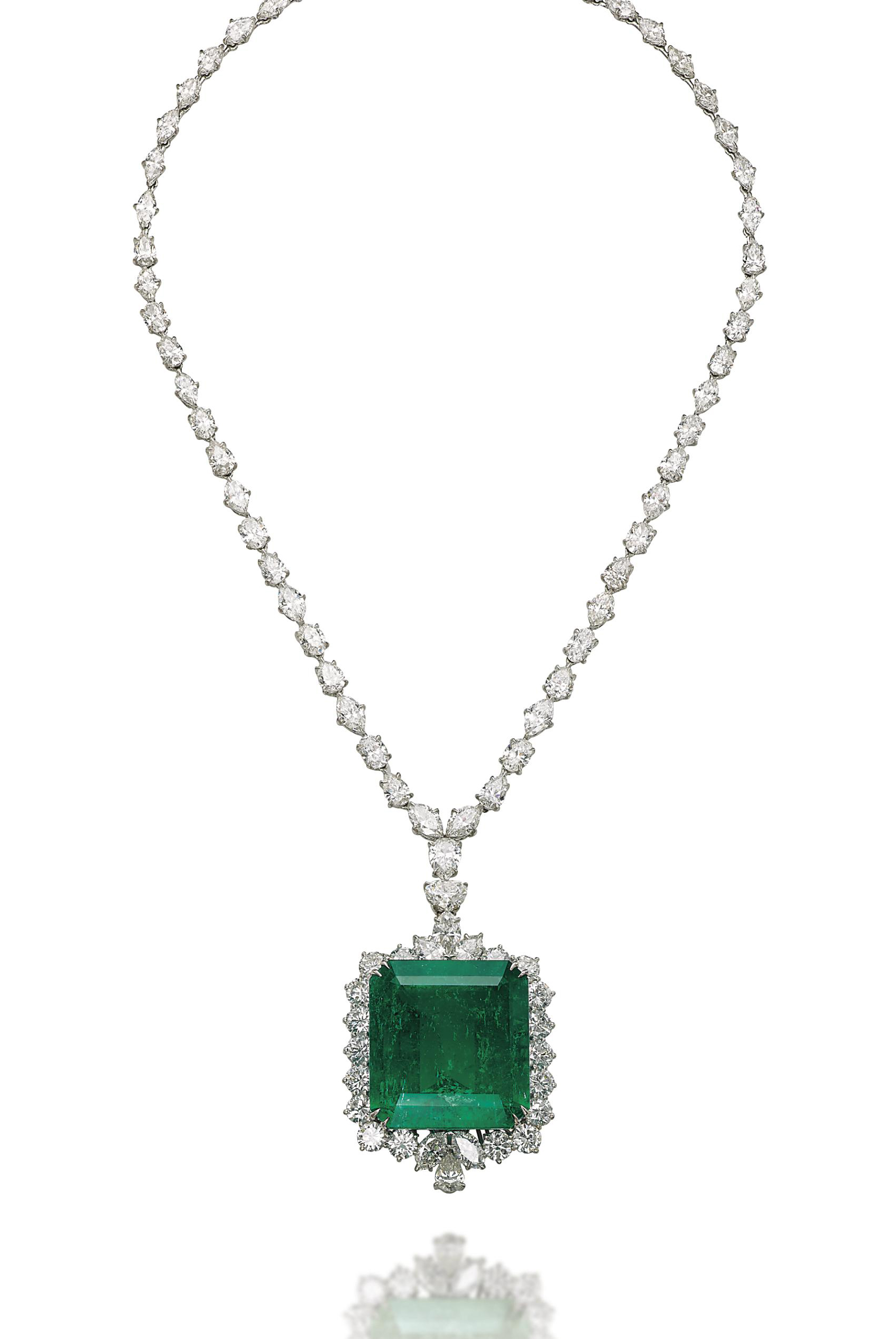 AN EMERALD AND DIAMOND PENDANT/NECKLACE, BY CHATILA