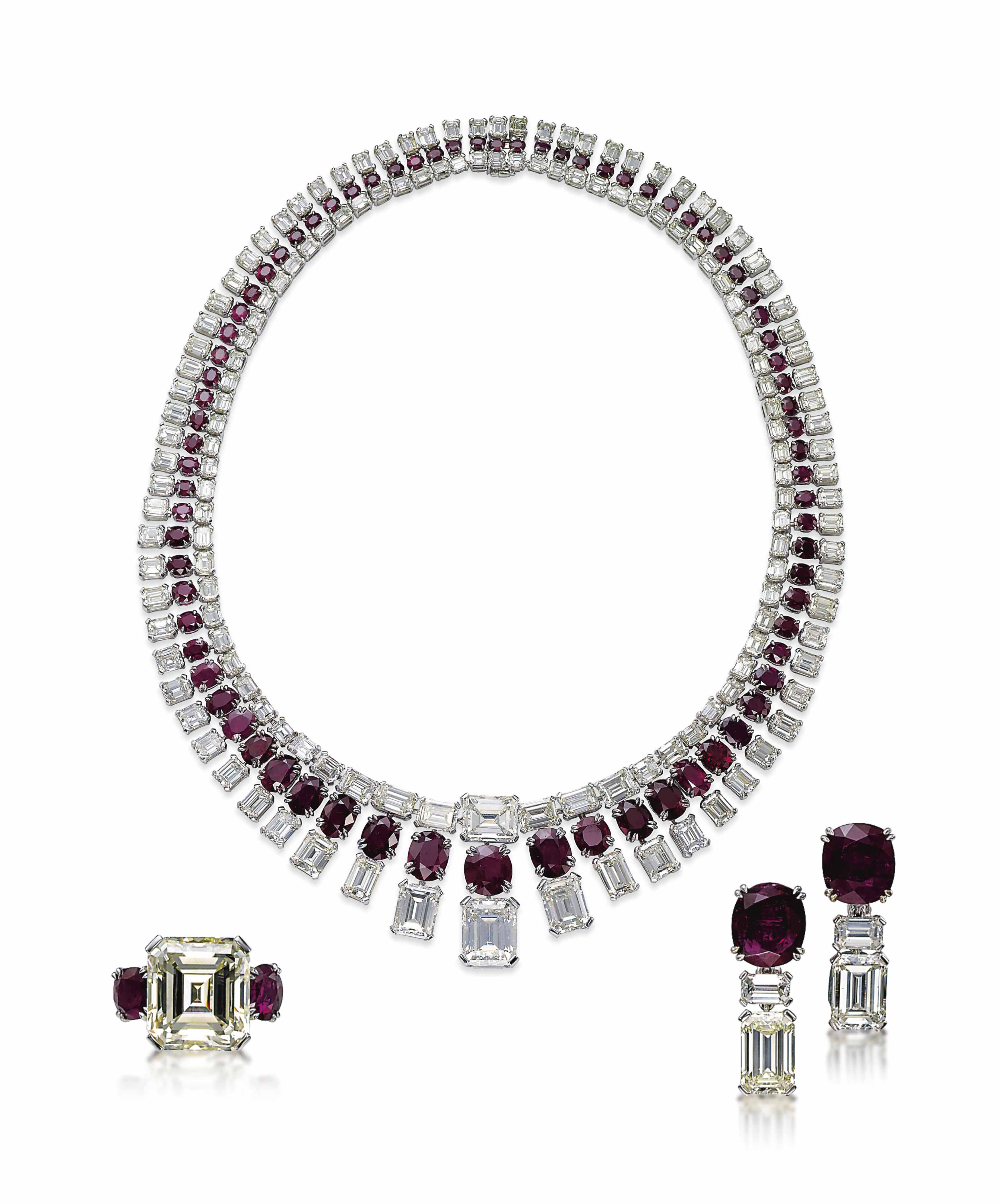 A SET OF RUBY AND DIAMOND JEWELLERY, BY JAHAN