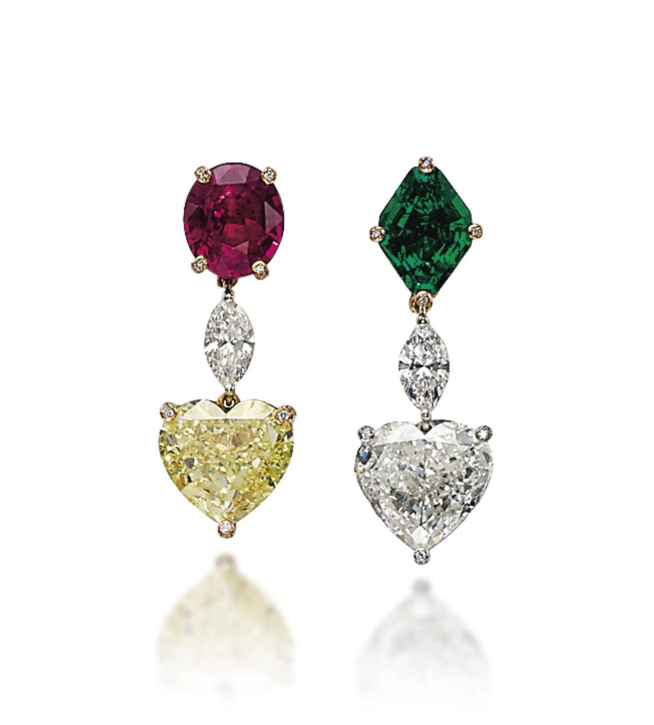 A PAIR OF DIAMOND, COLOURED DIAMOND, RUBY AND EMERALD EAR PENDANTS, BY DE GRISOGONO