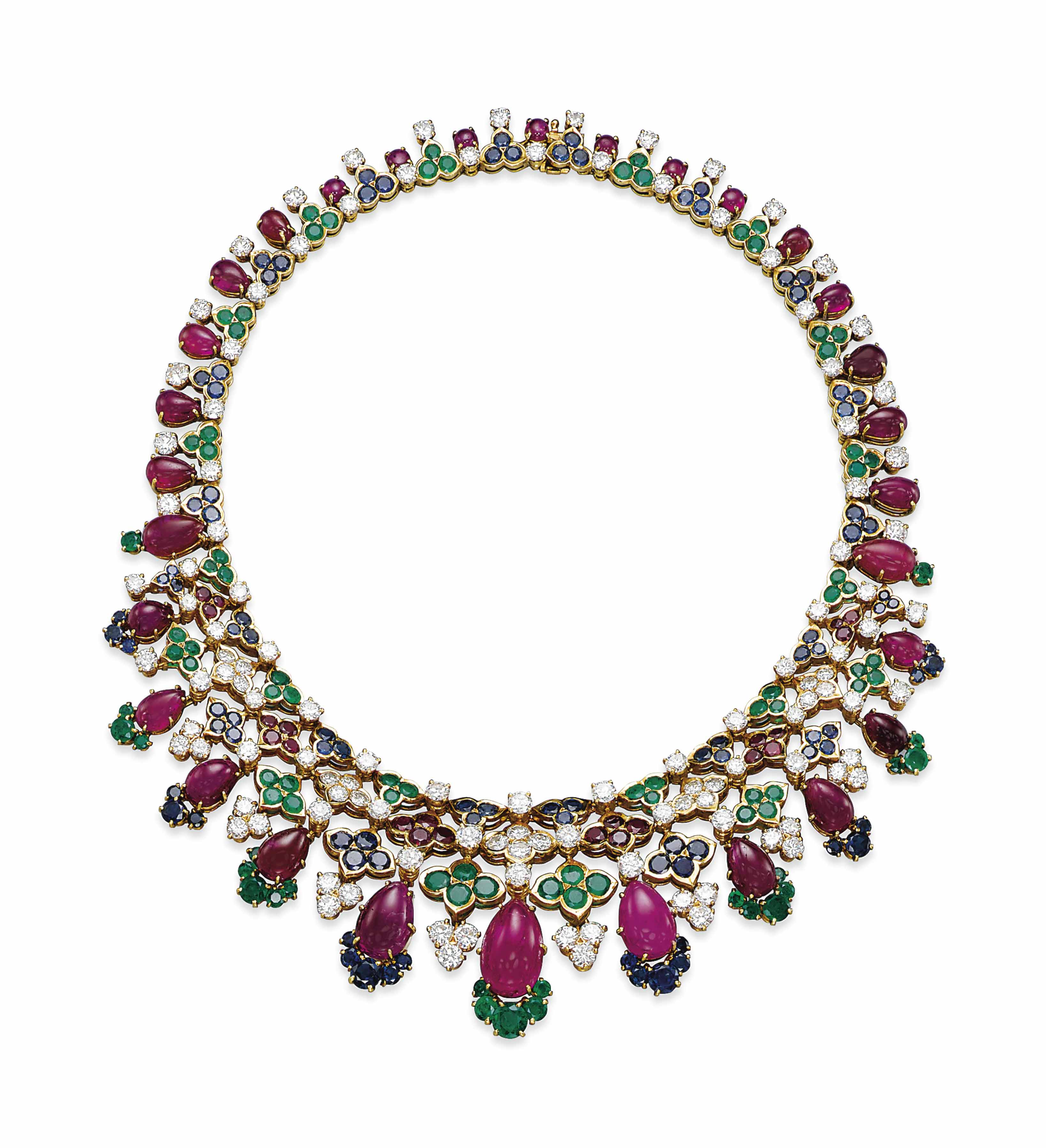 A RUBY, EMERALD, SAPPHIRE AND DIAMOND NECKLACE, BY MAUBOUSSIN