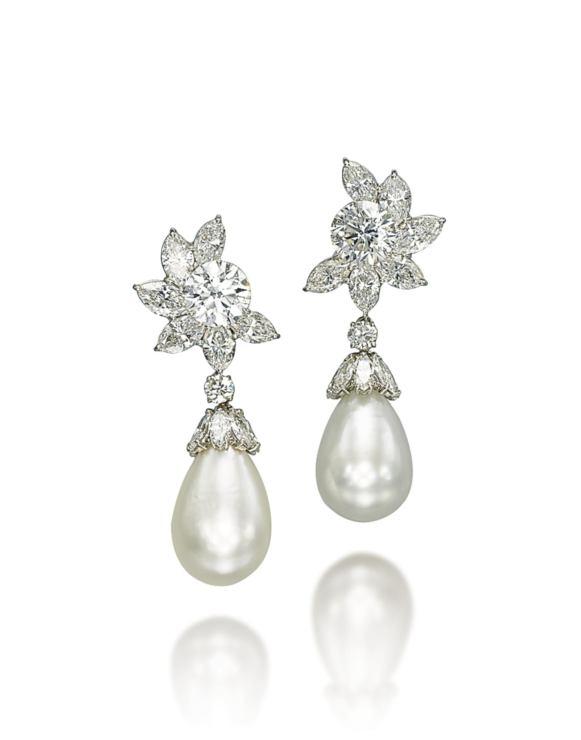 AN EXCEPTIONAL PAIR OF NATURAL PEARL AND DIAMOND EAR PENDANTS, BY HARRY WINSTON