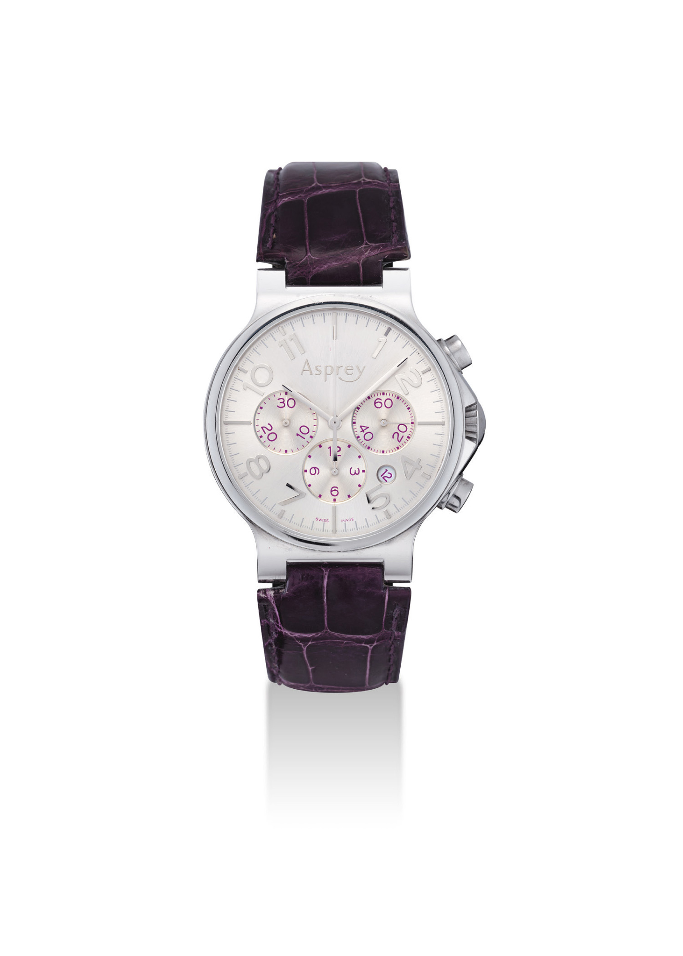 ASPREY. A STAINLESS STEEL AUTOMATIC CHRONOGRAPH WRISTWATCH WITH DATE