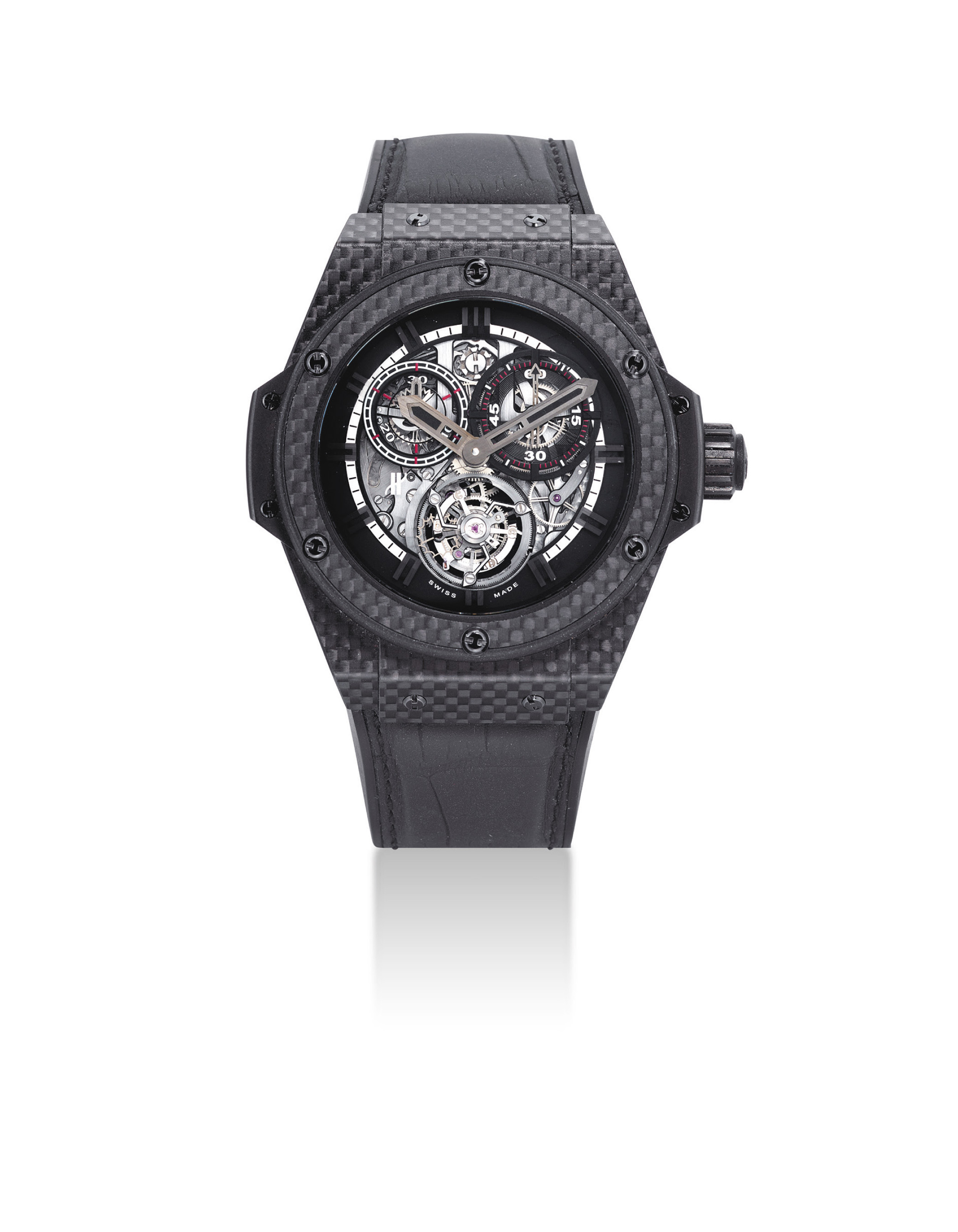 HUBLOT. A FINE AND VERY RARE CARBON FIBRE LIMITED EDITION SEMI-SKELETONISED MINUTE REPEATING SINGLE BUTTON CHRONOGRAPH TOURBILLION WRISTWATCH