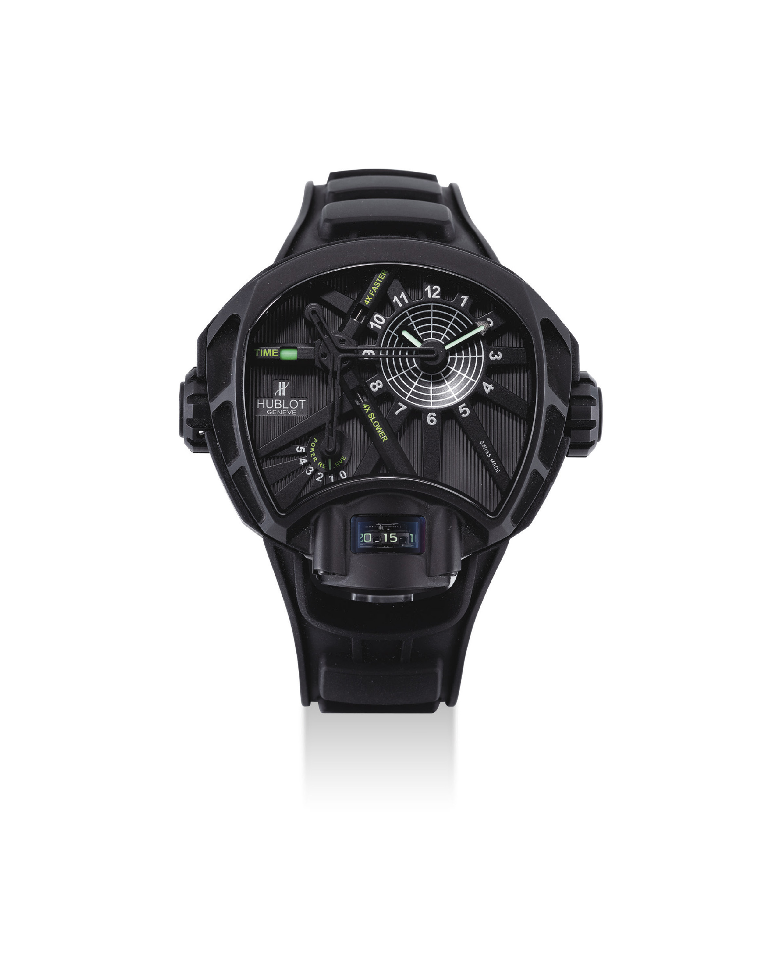 HUBLOT. A VERY FINE, RARE AND UNUSUAL BLACK PVD-COATED TITANIUM LIMITED EDITION TOURBILLON ASYMMETRICAL WRISTWATCH WITH POWER RESERVE AND TIME SPEED INDICATION