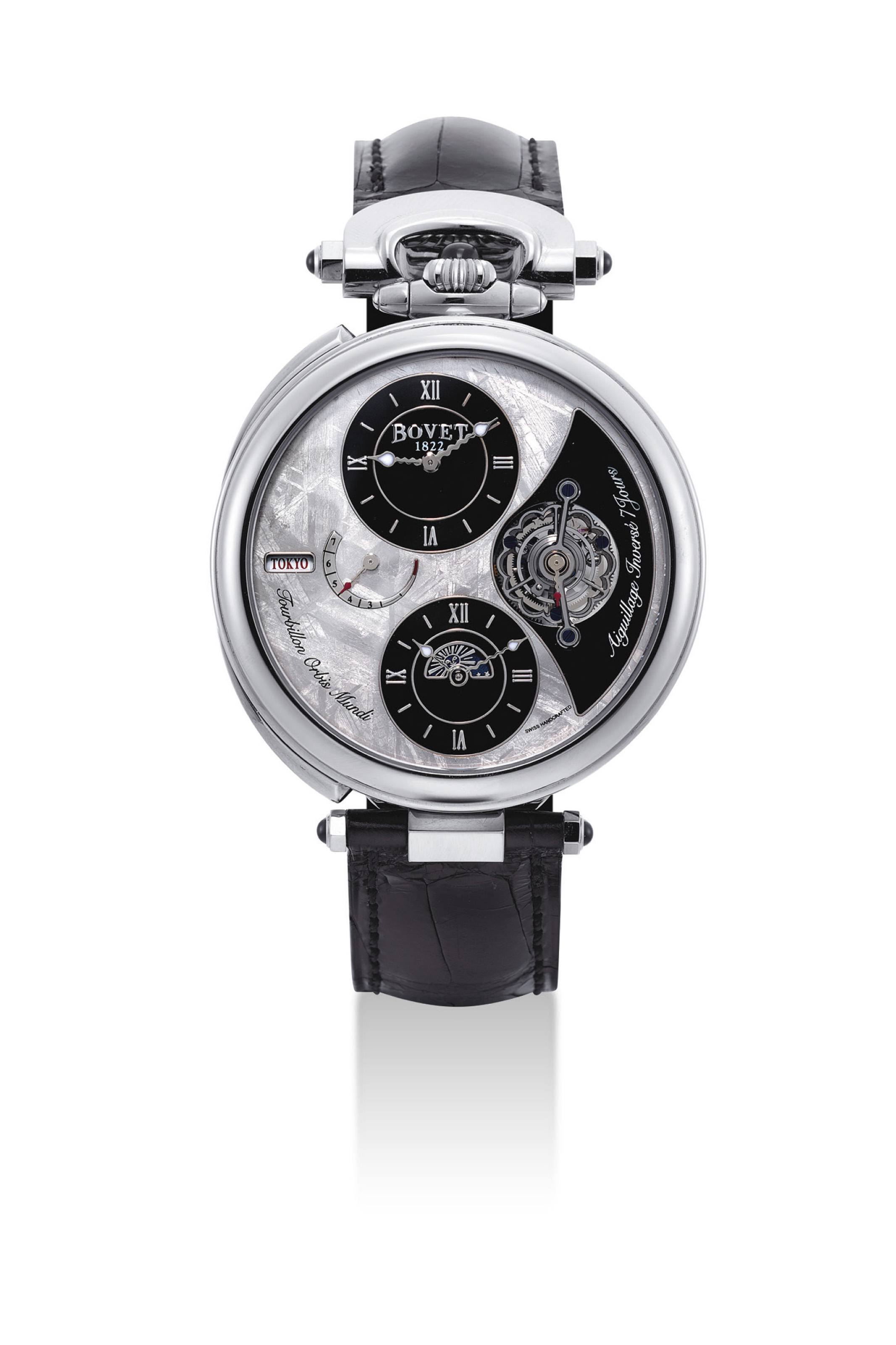 BOVET. A FINE AND RARE 18K WHITE GOLD LIMITED EDITION DUAL TIME TOURBILLION CONVERTIBLE TIMEPIECE WITH 7 DAY POWER RESERVE, DAY AND NIGHT INDICATION AND METEORITE DIAL