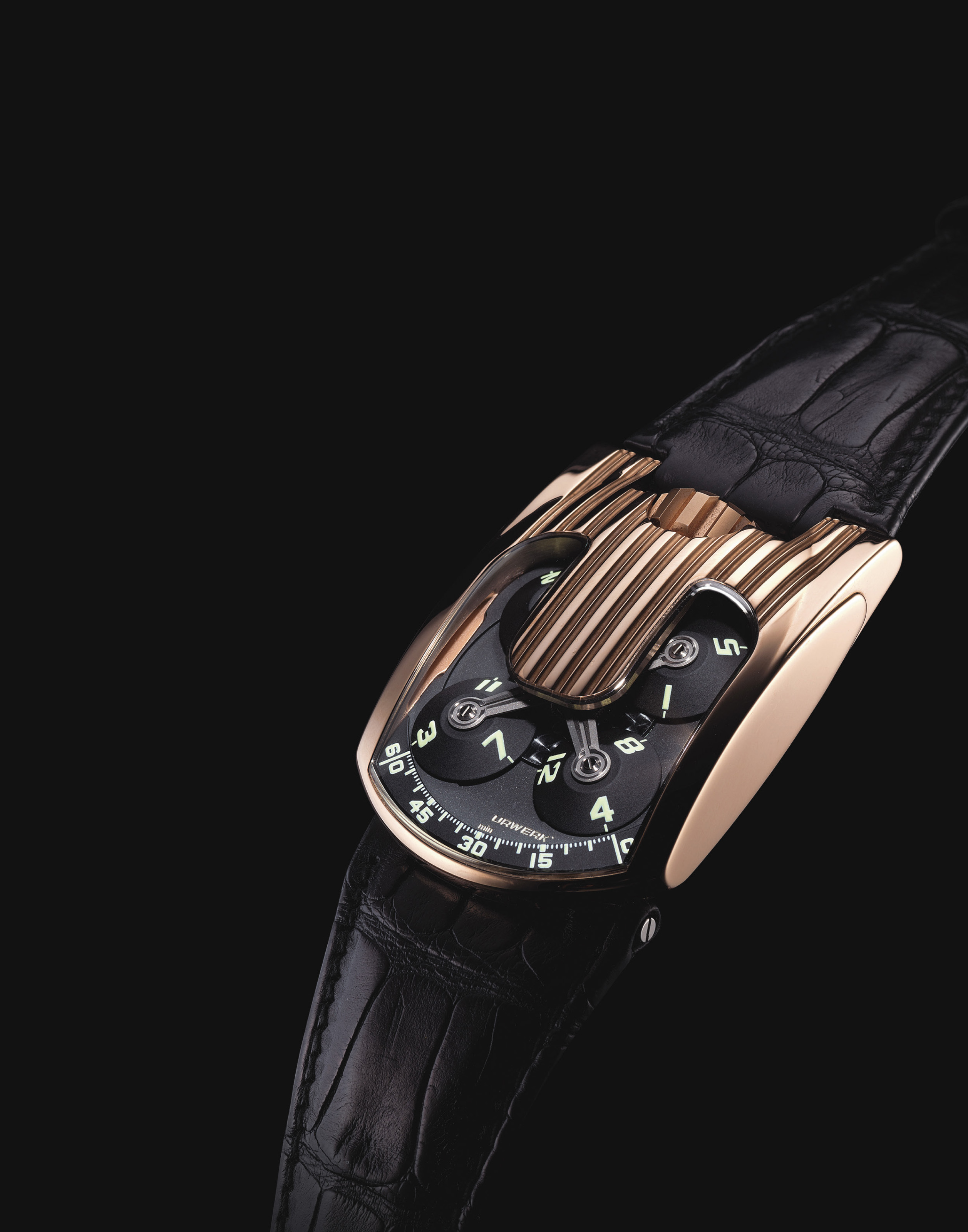 URWERK. A FINE AND RARE 18K PINK GOLD CHRONOMETER WRISTWATCH WITH 3-DIMENSIONAL SATELLITE HOUR DISPLAY AND POWER RESERVE
