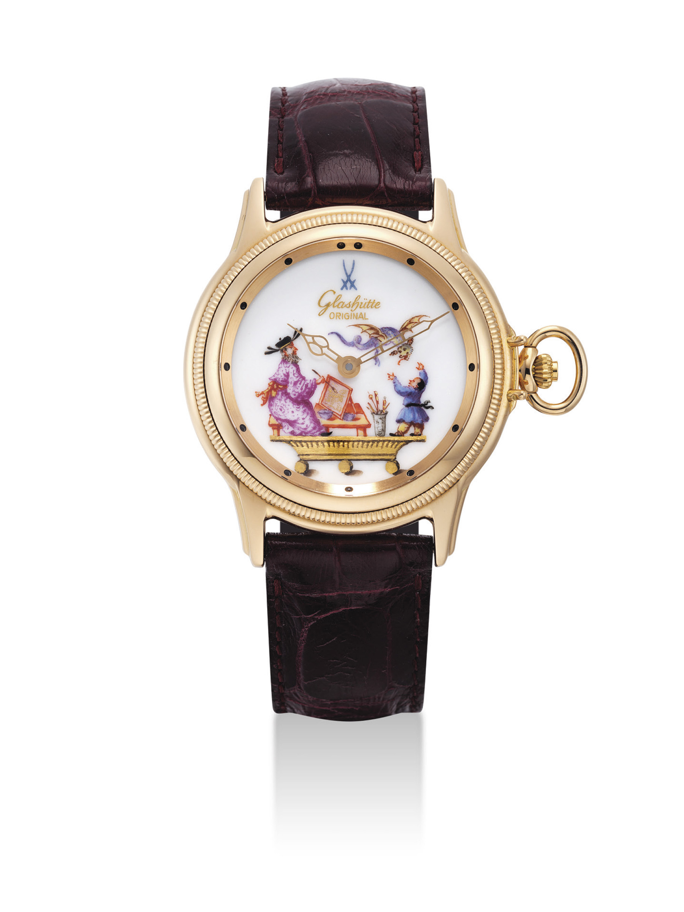 GLASHÜTTE ORIGINAL. A VERY FINE AND RARE 18K GOLD CONVERTIBLE LIMITED EDITION WATCH WITH MEISSEN PORCELAIN DIAL AND 18K GOLD CHAIN TO BE WORN AS WRIST OR POCKET WATCH