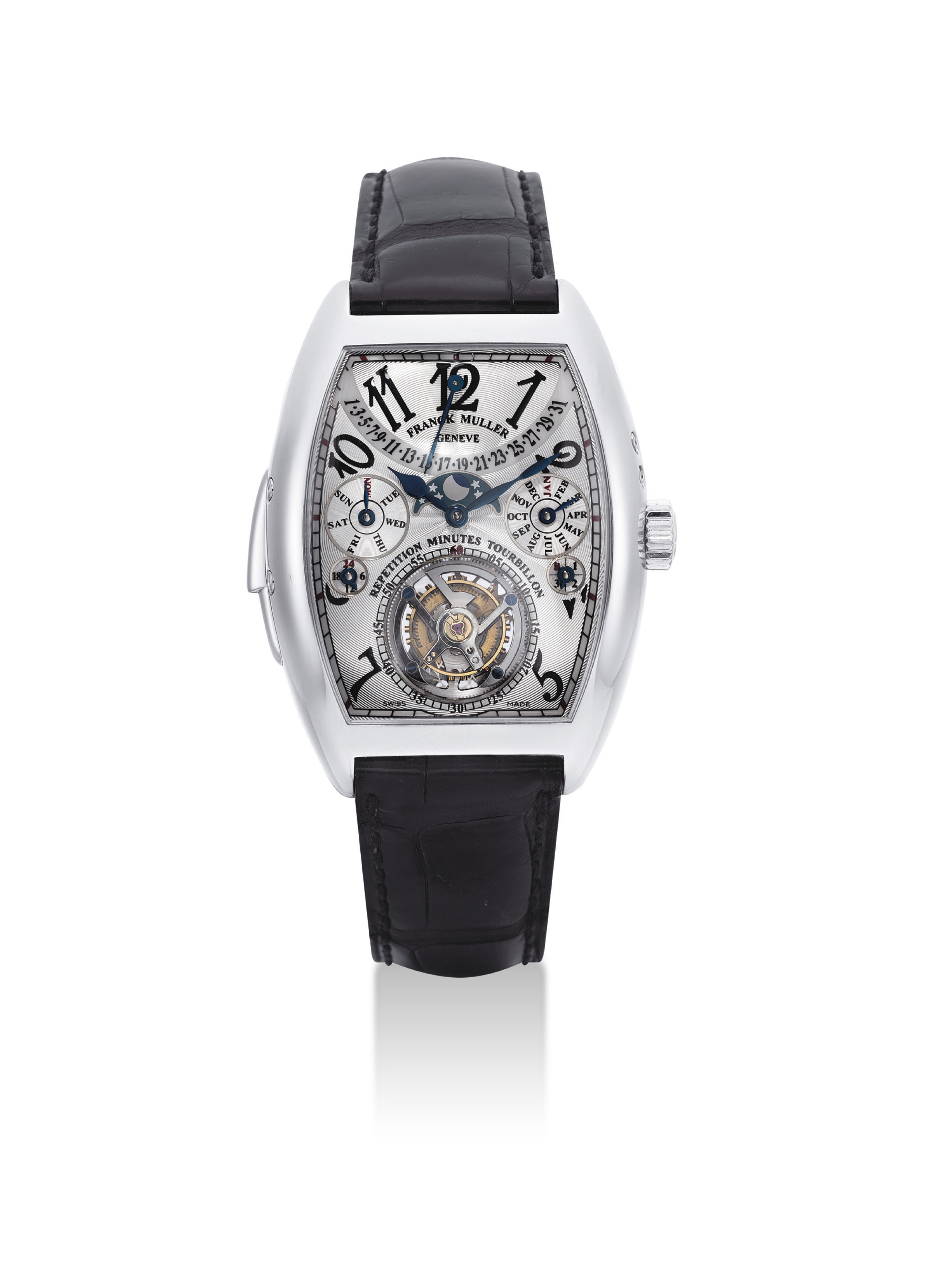 FRANCK MULLER. A VERY FINE AND RARE PLATINUM TONNEAU-SHAPED MINUTE REPEATING PERPETUAL CALENDAR TOURBILLON WRISTWATCH WITH RETROGRADE DATE, MOON PHASES, LEAP YEAR AND 24 HOUR INDICATION