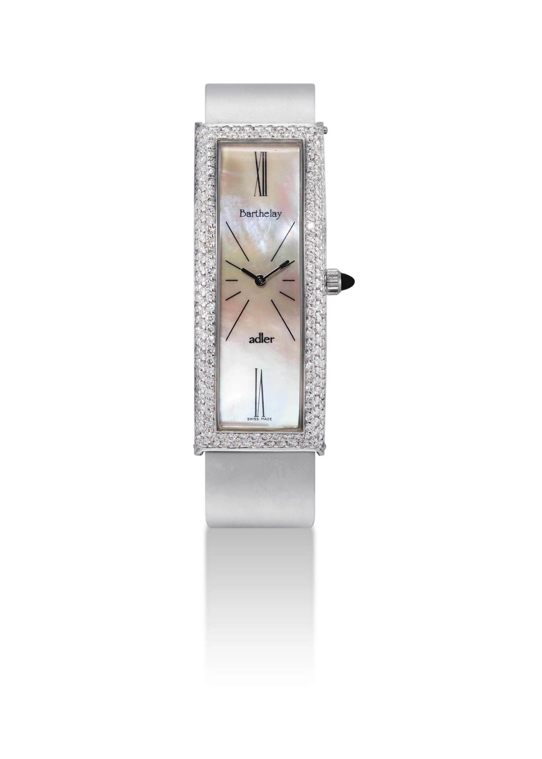 BARTHELAY. A LADY'S 18K WHITE GOLD AND DIAMOND-SET RECTANGULAR BANGLE WATCH WITH MOTHER-OF-PEARL DIAL