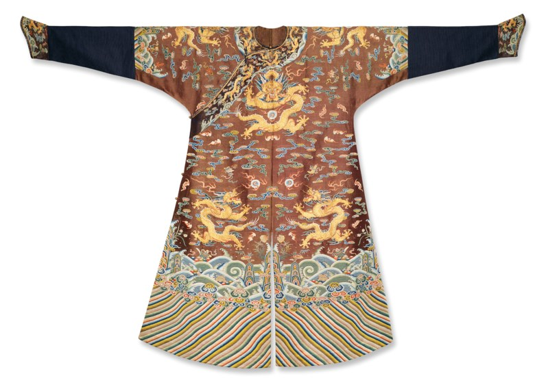 A very rare imperial chestnut embroidered gauze dragon robe, Mangpao, Qianlong Period (1736-1795). 56  in (142.2  cm) long x 82  in (208.3  cm) wide. Sold for HK$1,600,000 on 28 May 2014  at Christie's in Hong Kong