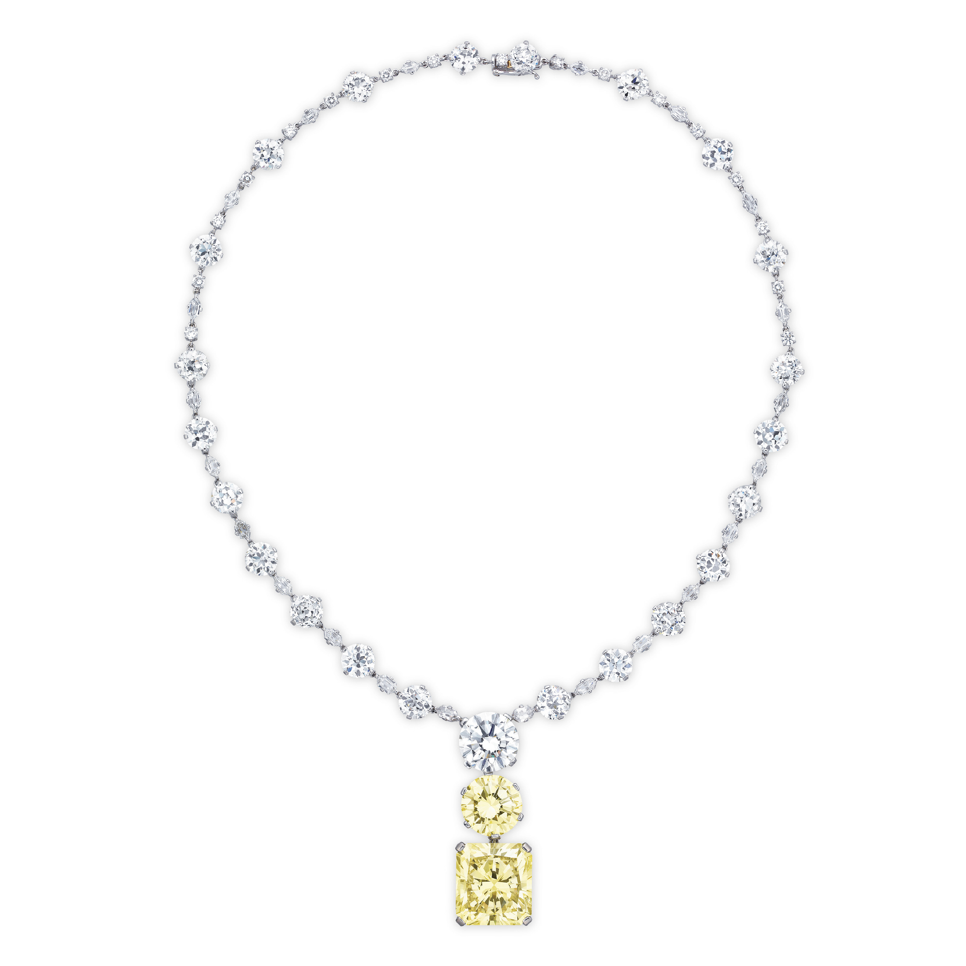 A SUPERB COLOURED DIAMOND AND DIAMOND PENDANT NECKLACE, BY JAHAN