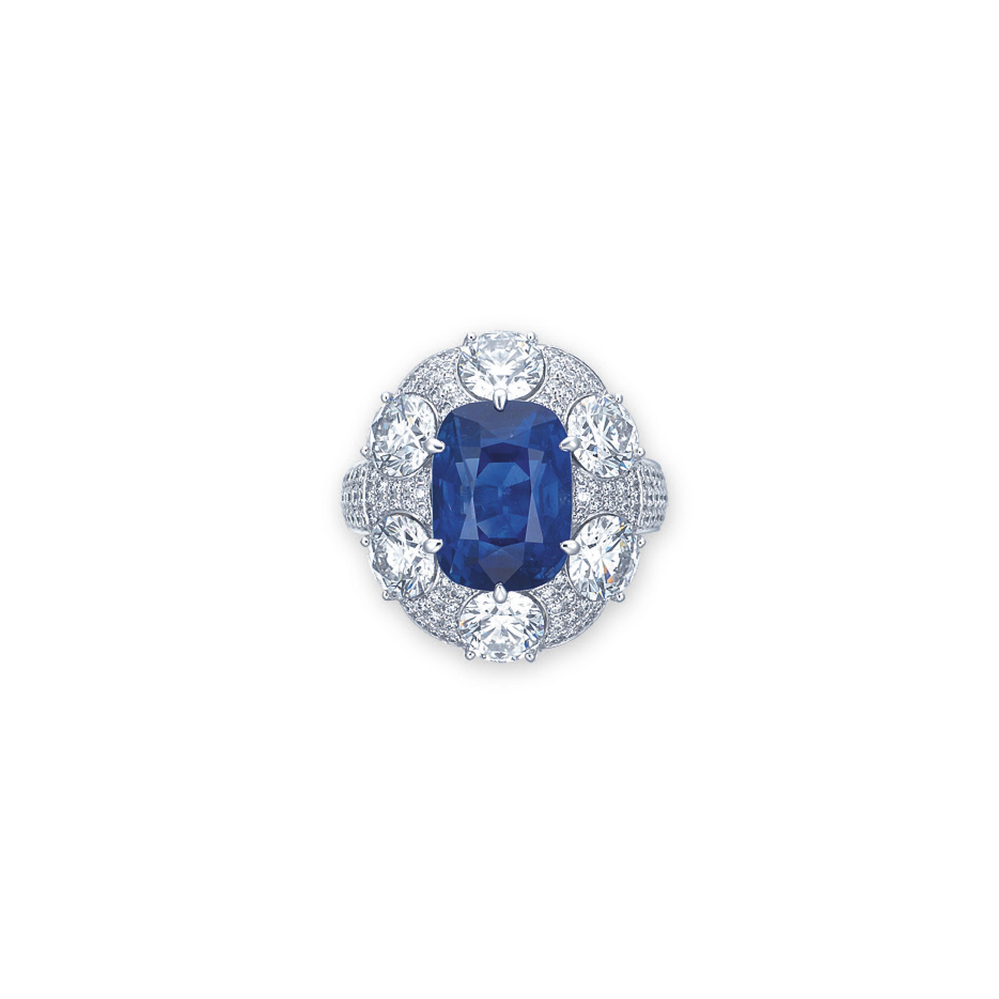 A RARE SAPPHIRE AND DIAMOND RING, BY GÜBELIN