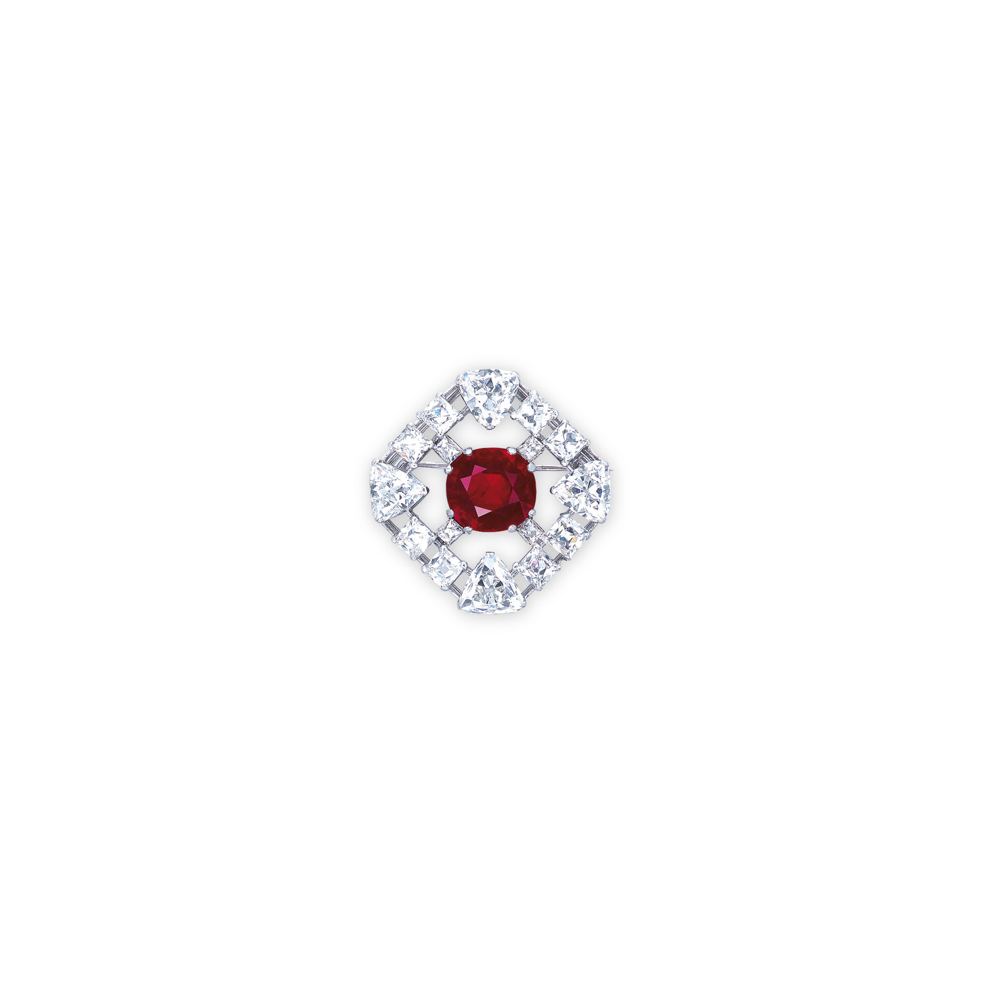 AN EXTREMELY RARE RUBY AND DIAMOND BROOCH, BY CARTIER