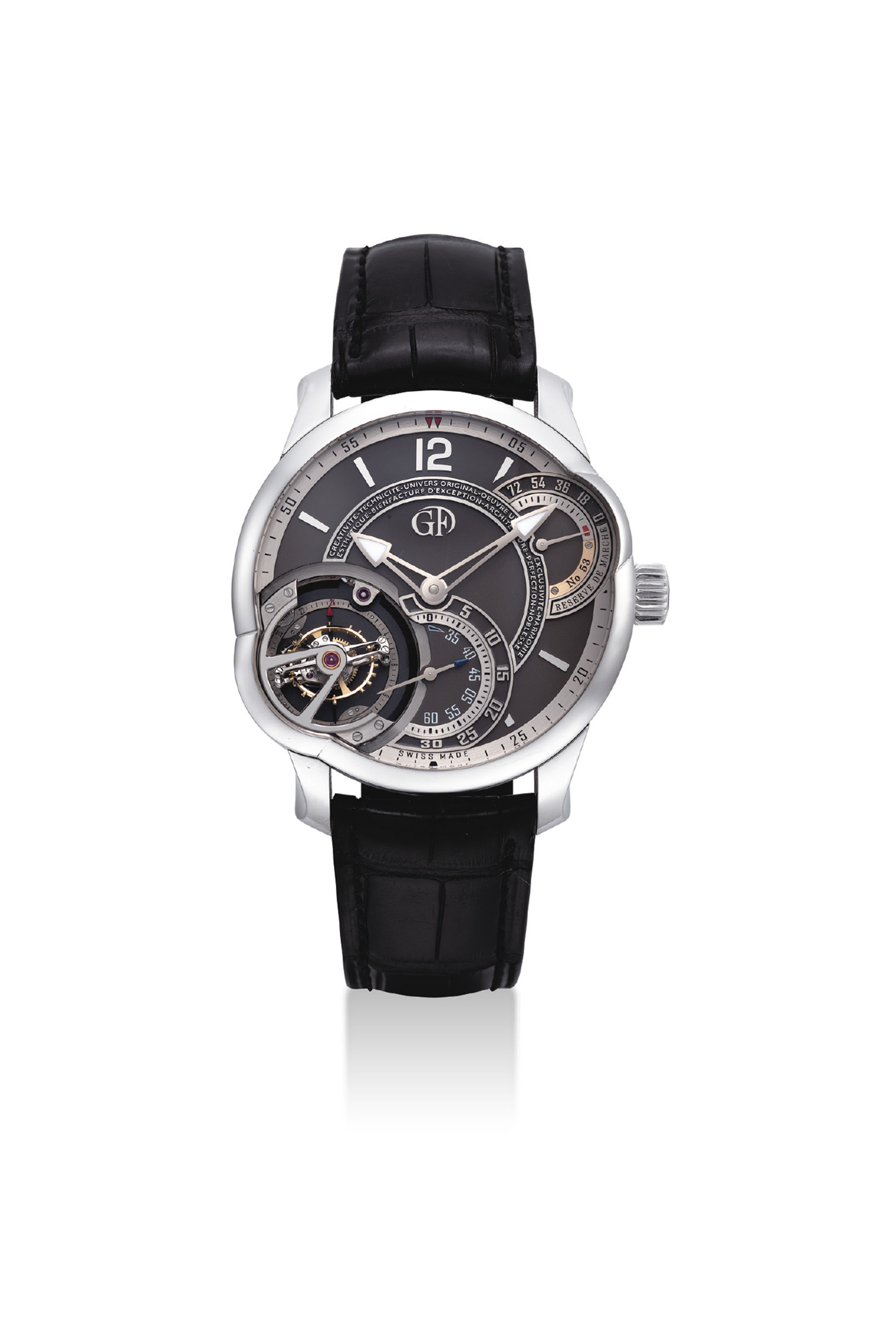 GREUBEL FORSEY. A VERY FINE, IMPORTANT AND VERY RARE PLATINUM ASYMMETRICAL 25° INCLINED 24 SECONDS TOURBILLON WRISTWATCH WITH 72 HOURS POWER RESERVE