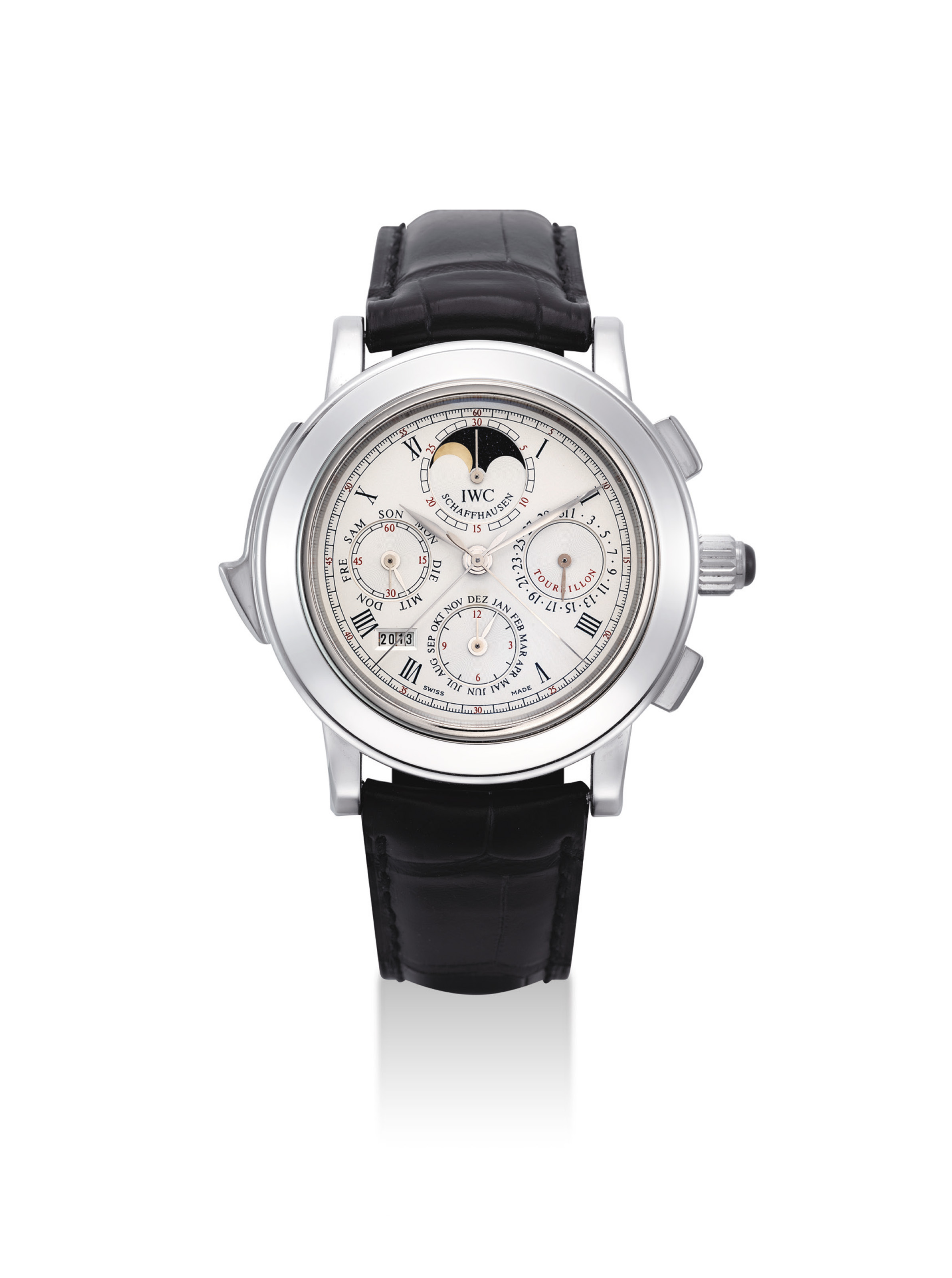 IWC. AN IMPORTANT, VERY RARE AND FINE PLATINUM LIMITED EDITION MINUTE REPEATING PERPETUAL CALENDAR SPLIT SECONDS CHRONOGRAPH TOURBILLON WRISTWATCH WITH MOON PHASES AND DIGIT YEAR DISPLAY, MADE TO COMMEMORATE THE 125TH ANNIVERSARY OF IWC SCHAFFHAUSEN