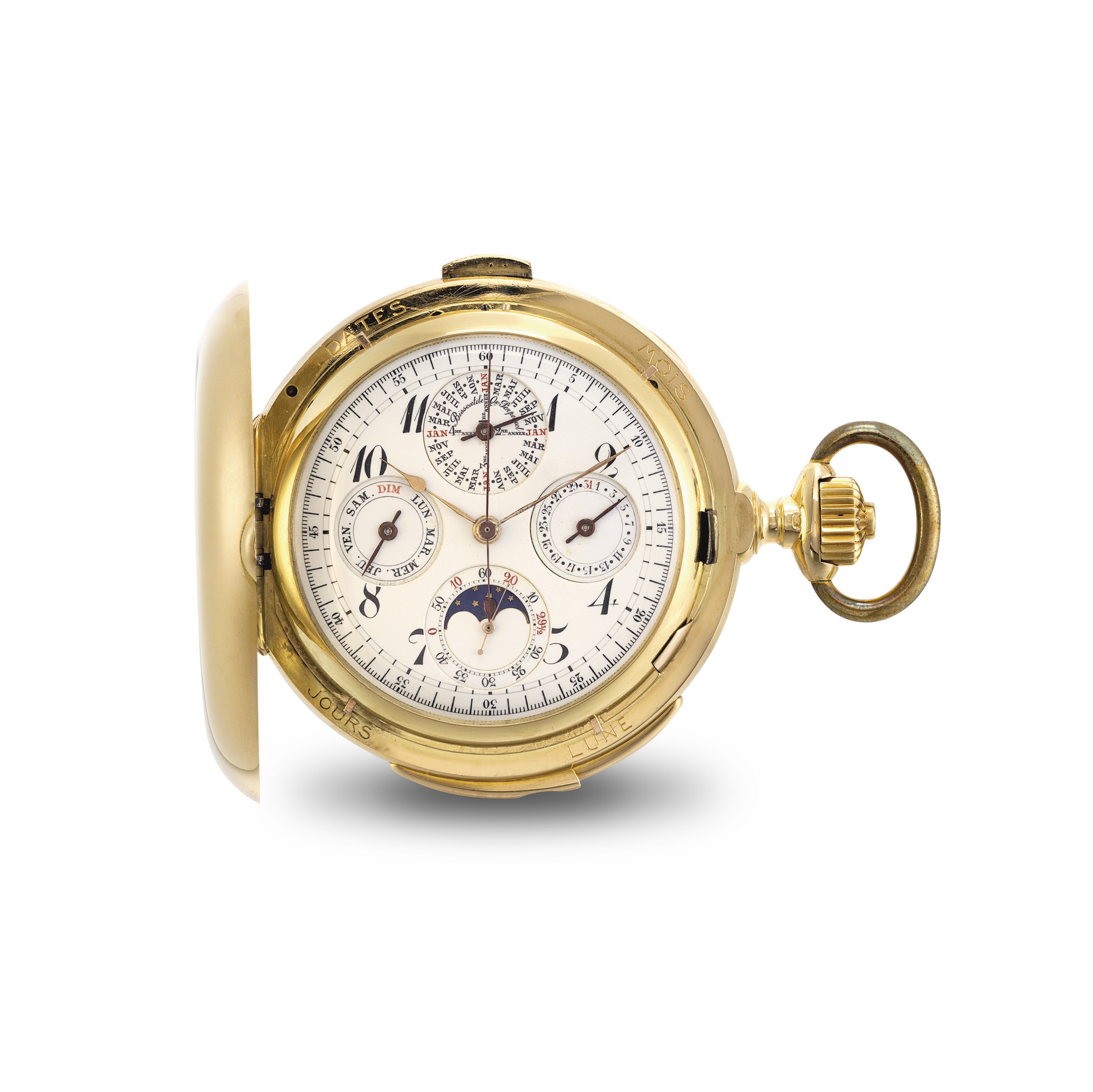 LEROY. A FINE GOLD HUNTER CASE MINUTE REPEATING PERPETUAL CALENDAR CHRONOGRAPH KEYLESS LEVER WATCH WITH MOON PHASES AND LEAP YEAR INDICATION AND BOX