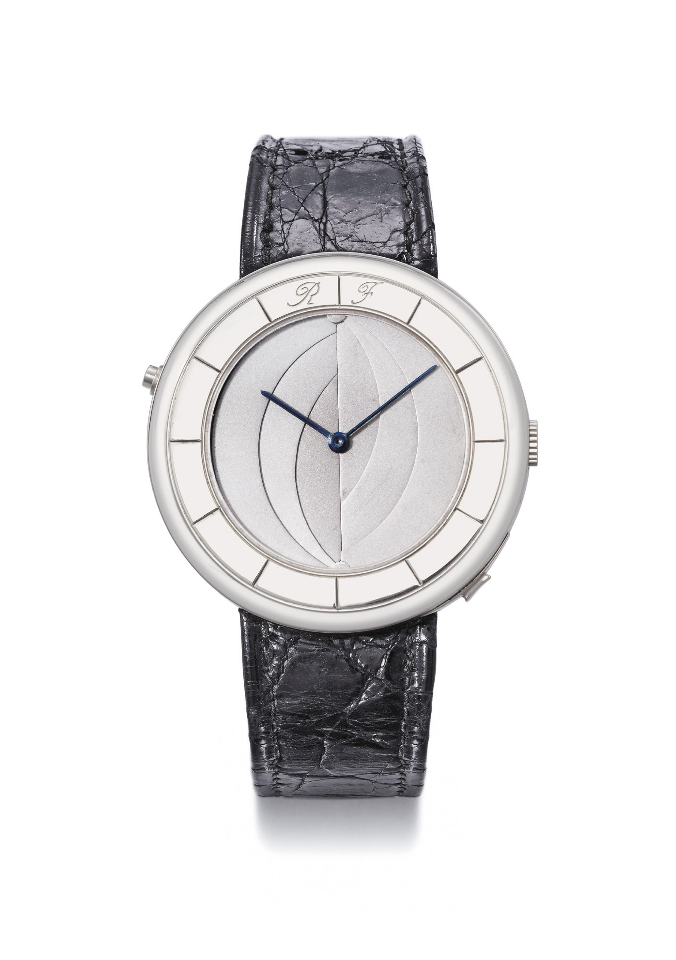 FALCONE. A FINE AND POSSIBLY UNIQUE 18K WHITE GOLD WRISTWATCH WITH CONCEALED EROTIC ENAMEL DIAL