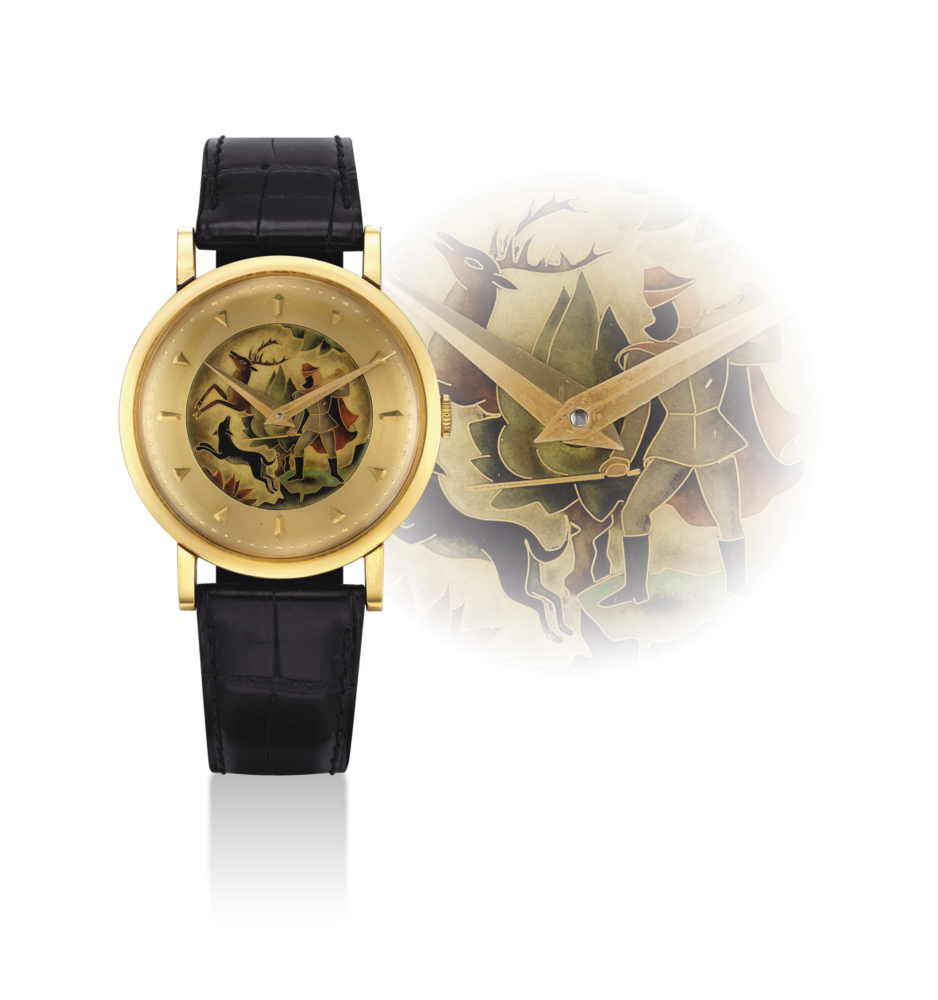 UNIVERSAL. A FINE AND RARE 18K GOLD WRISTWATCH WITH CLOISONNÉ ENAMEL DIAL