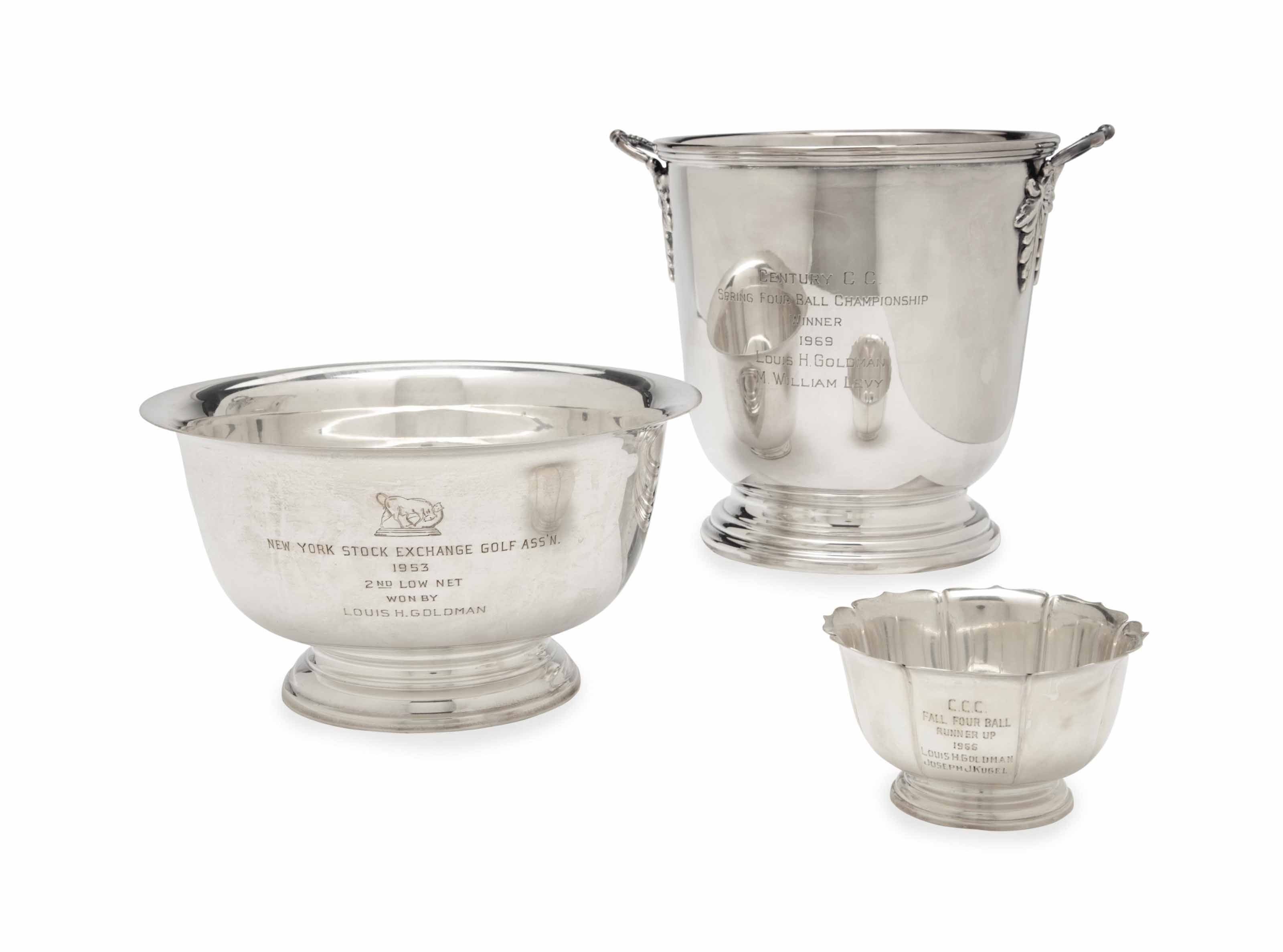 A GROUP OF ENGLISH AND AMERICAN SILVER AND SILVER-PLATE SPORTING TROPHIES,