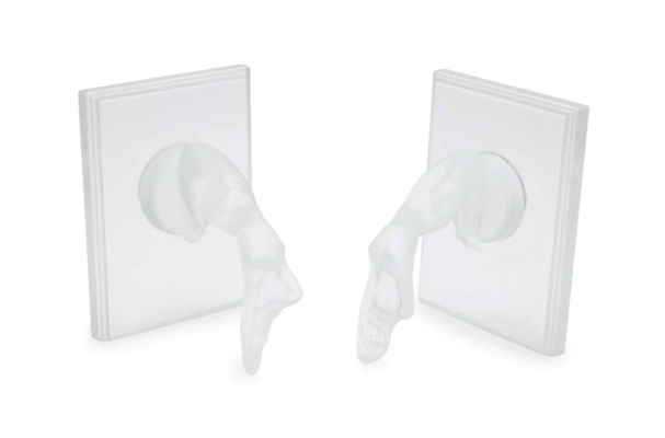 A PAIR OF FRENCH FROSTED GLASS