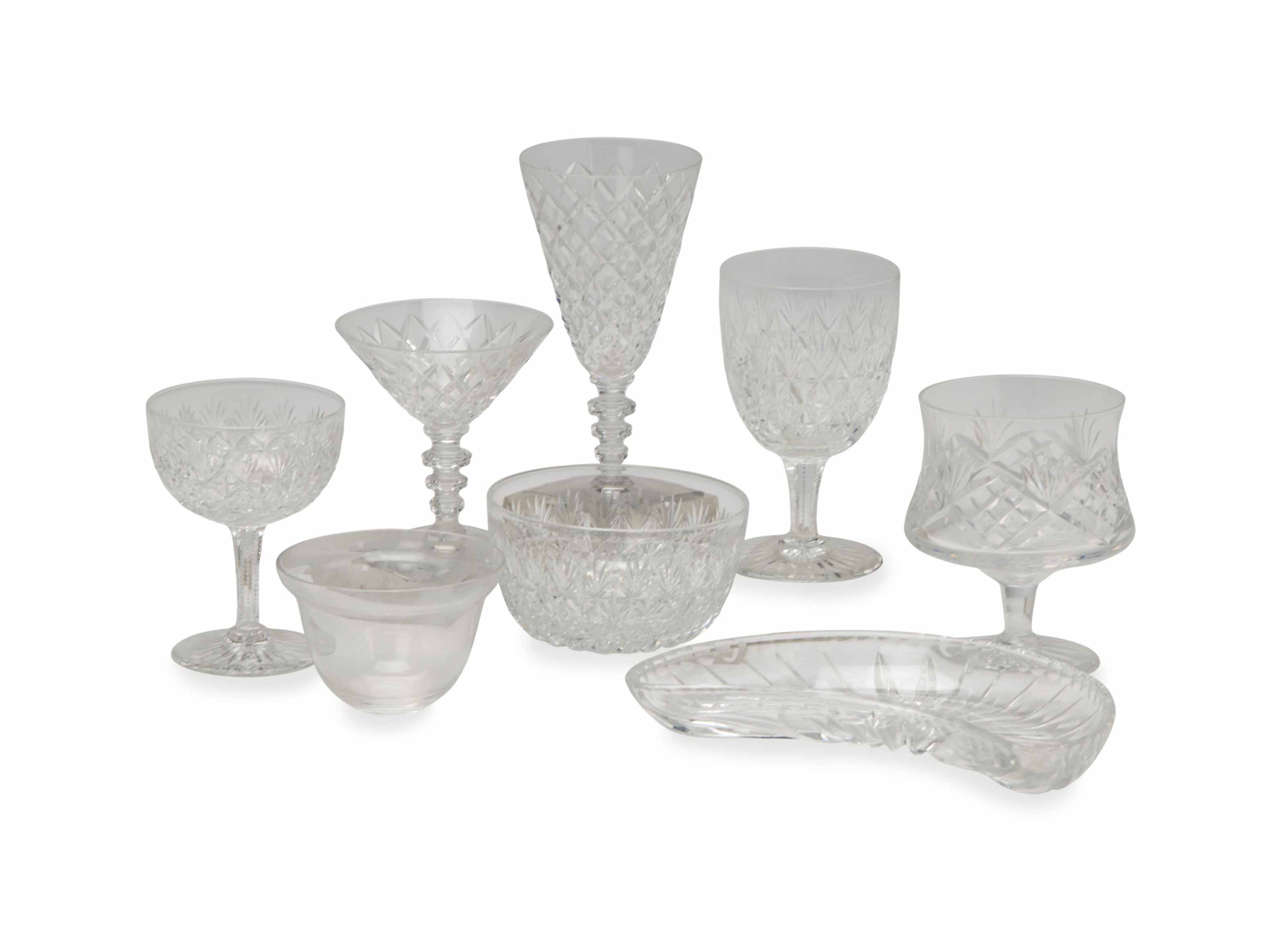 AN ASSEMBLED GROUP OF ENGLISH AND AMERICAN CUT-GLASS DRINKWARES,