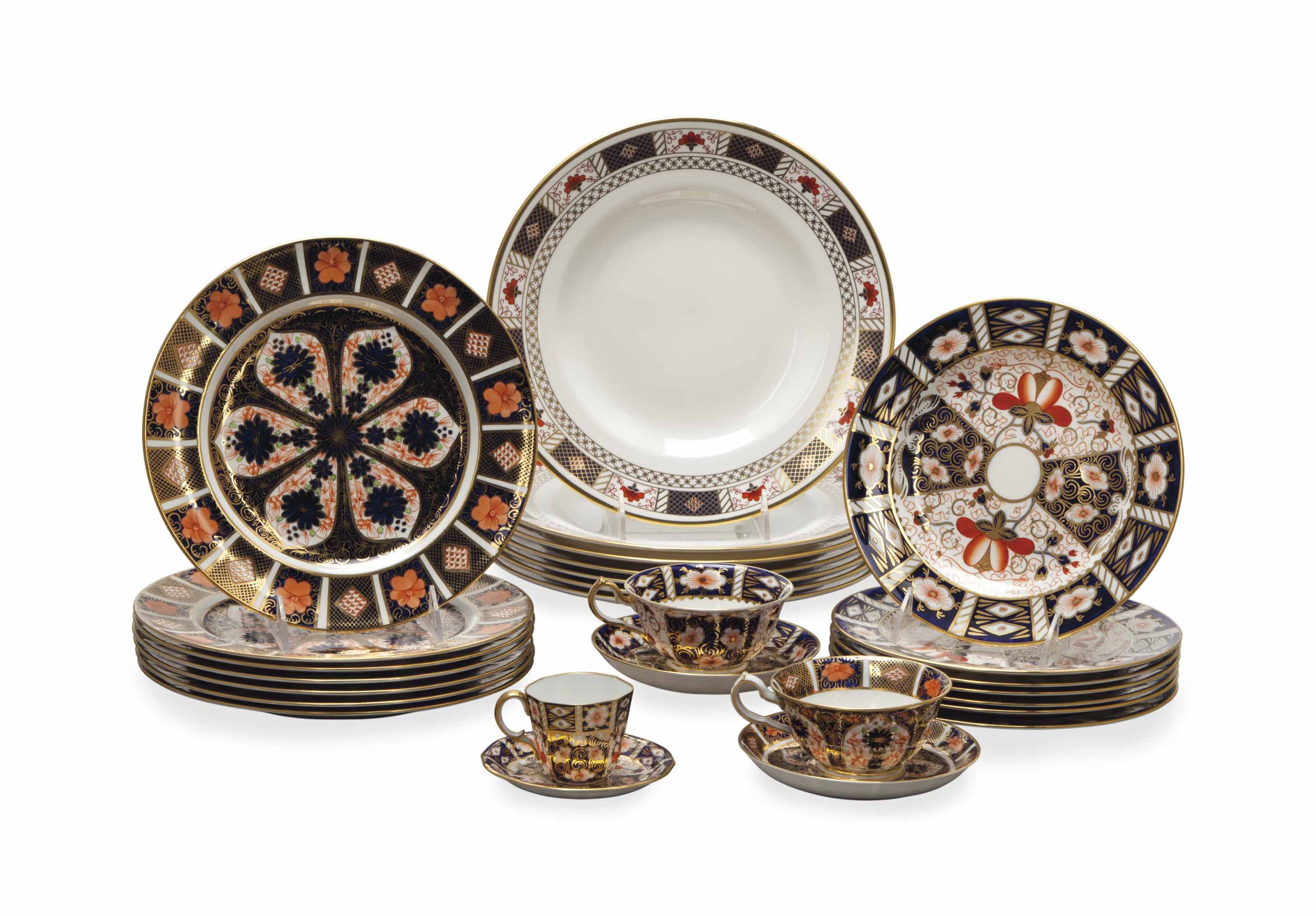 AN ASSEMBLED ROYAL CROWN DERBY TEA SERVICE,