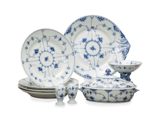 AN ASSEMBLED DANISH PORCELAIN
