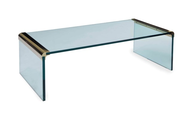 A BRASS-MOUNTED GLASS LOW TABL