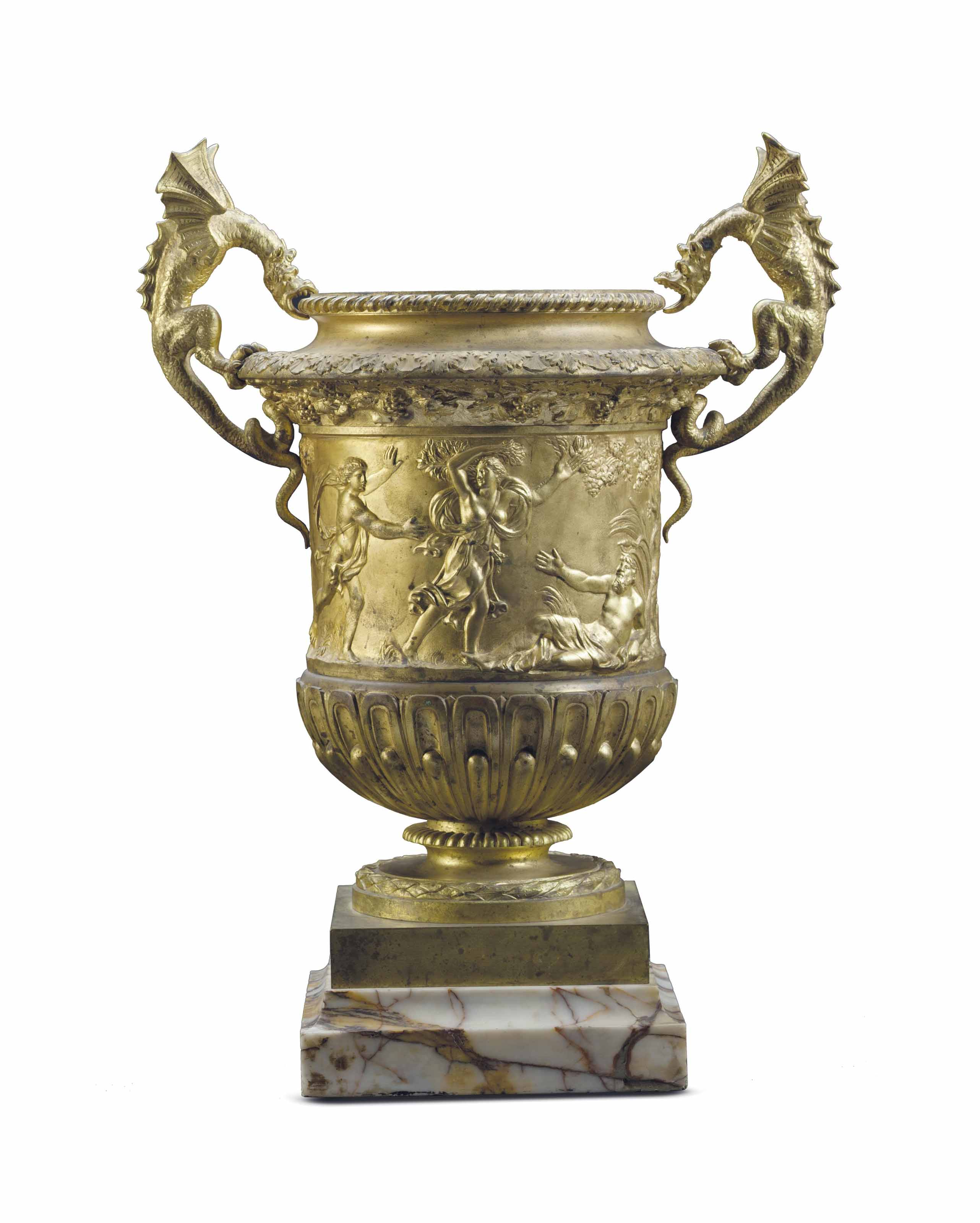 A FRENCH ORMOLU AND MARBLE TWO-HANDLED VASE,