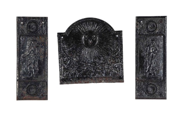 A FRENCH CAST IRON FIRE-BACK A