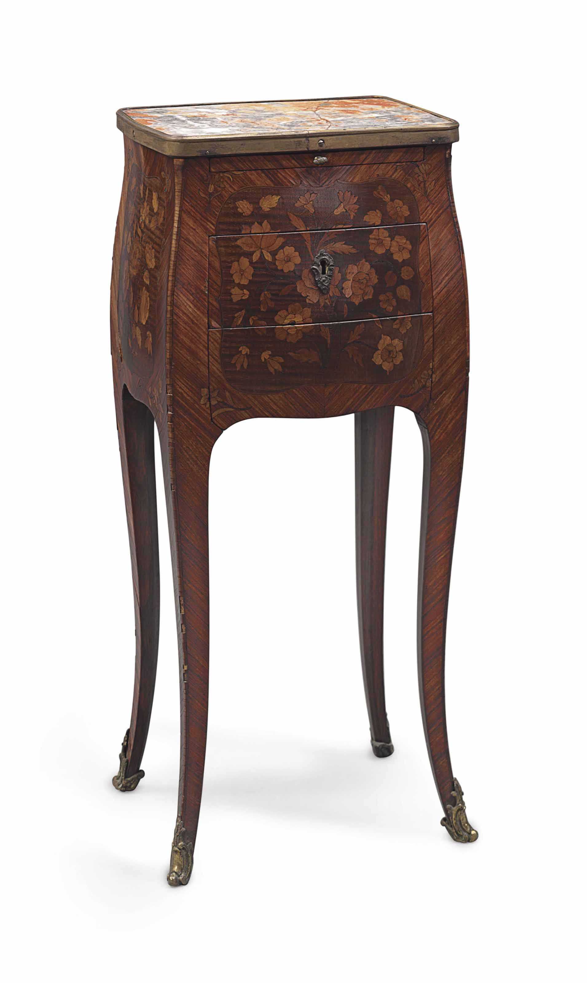A LOUIS XV TULIPWOOD, SYCAMORE AND FLORAL MARQUETRY TABLE EN CHIFFONIERE,