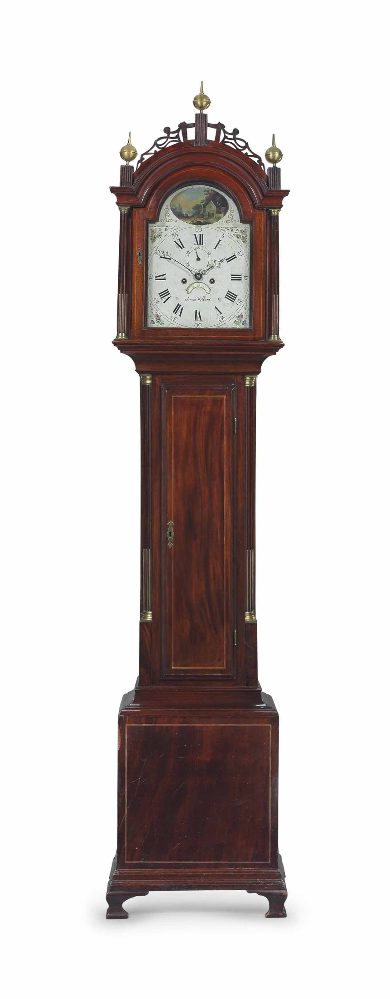 A FEDERAL BRASS-MOUNTED INLAID MAHOGANY TALL CASE CLOCK