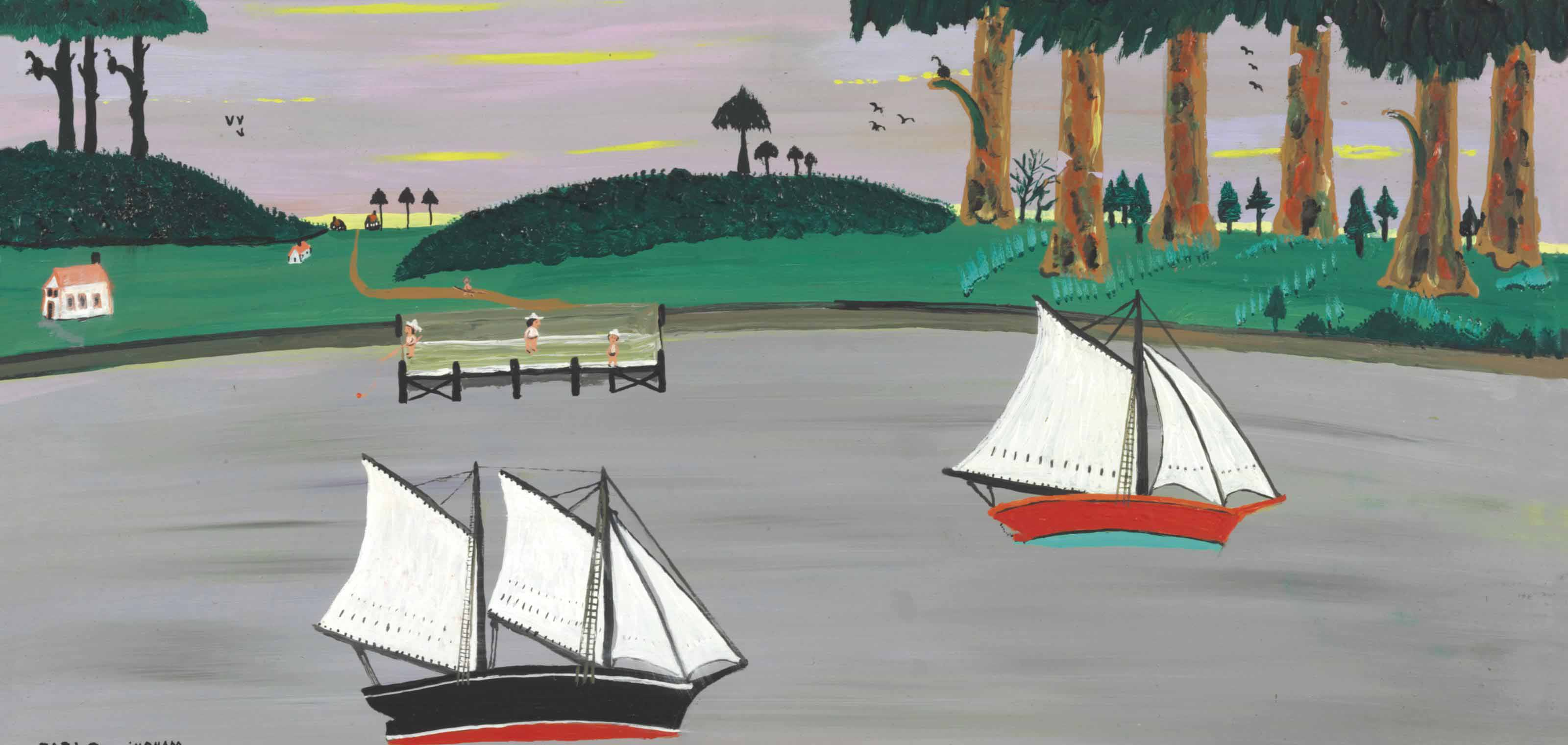 Red and Black Sailboats