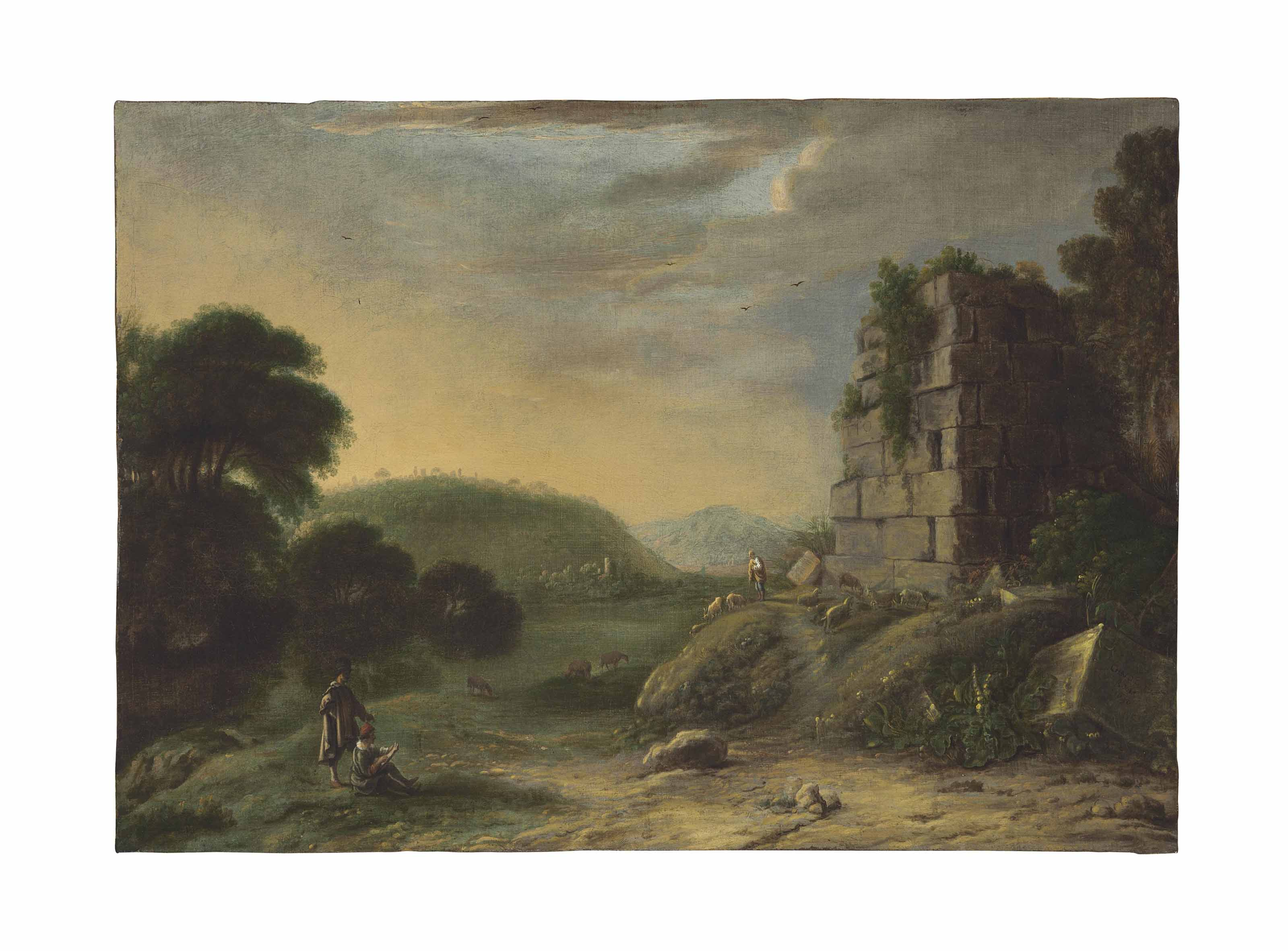 An Arcadian landscape with ruins, an artist drawing in the foreground