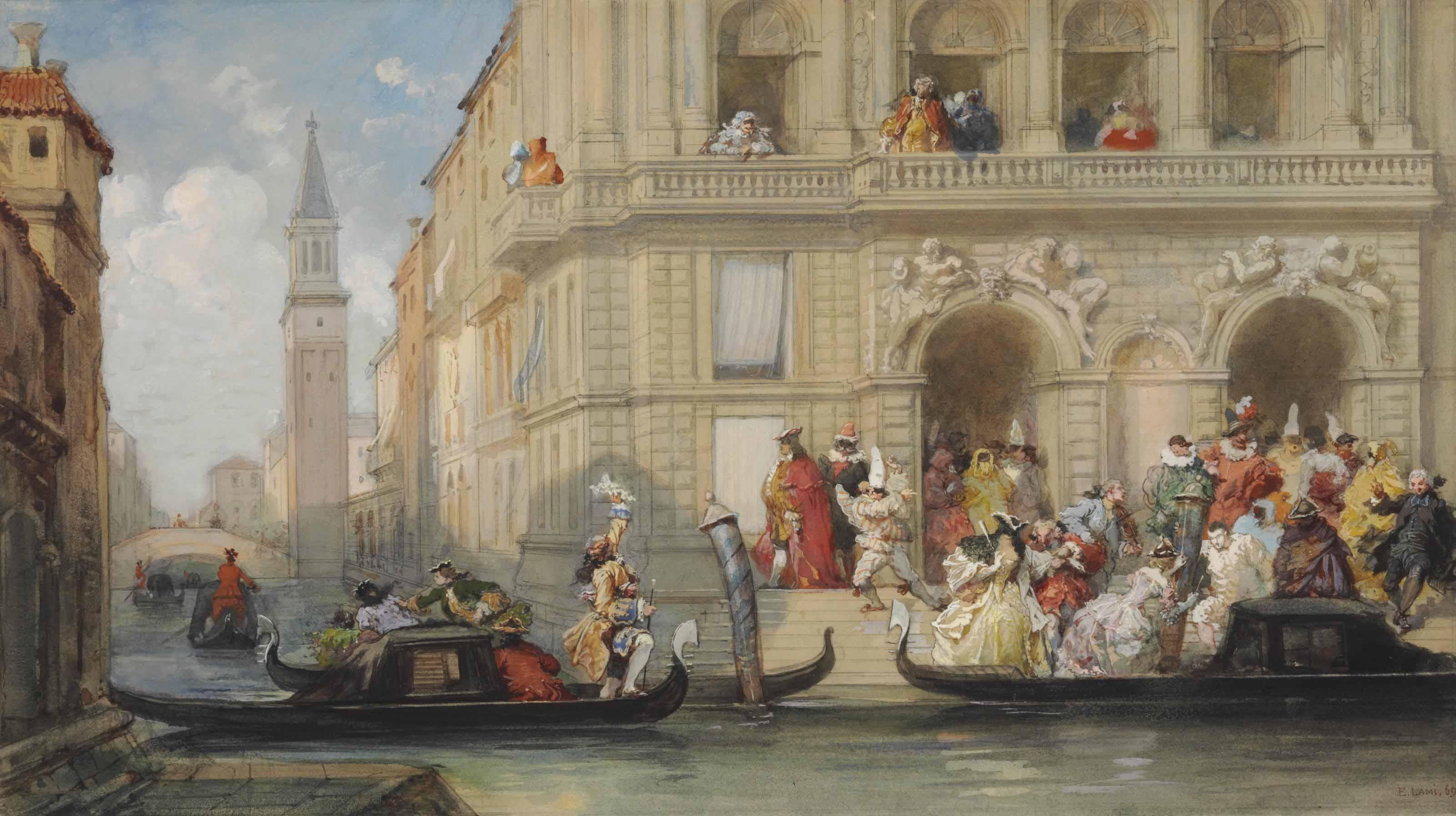 Masqueraders on gondolas in Venice