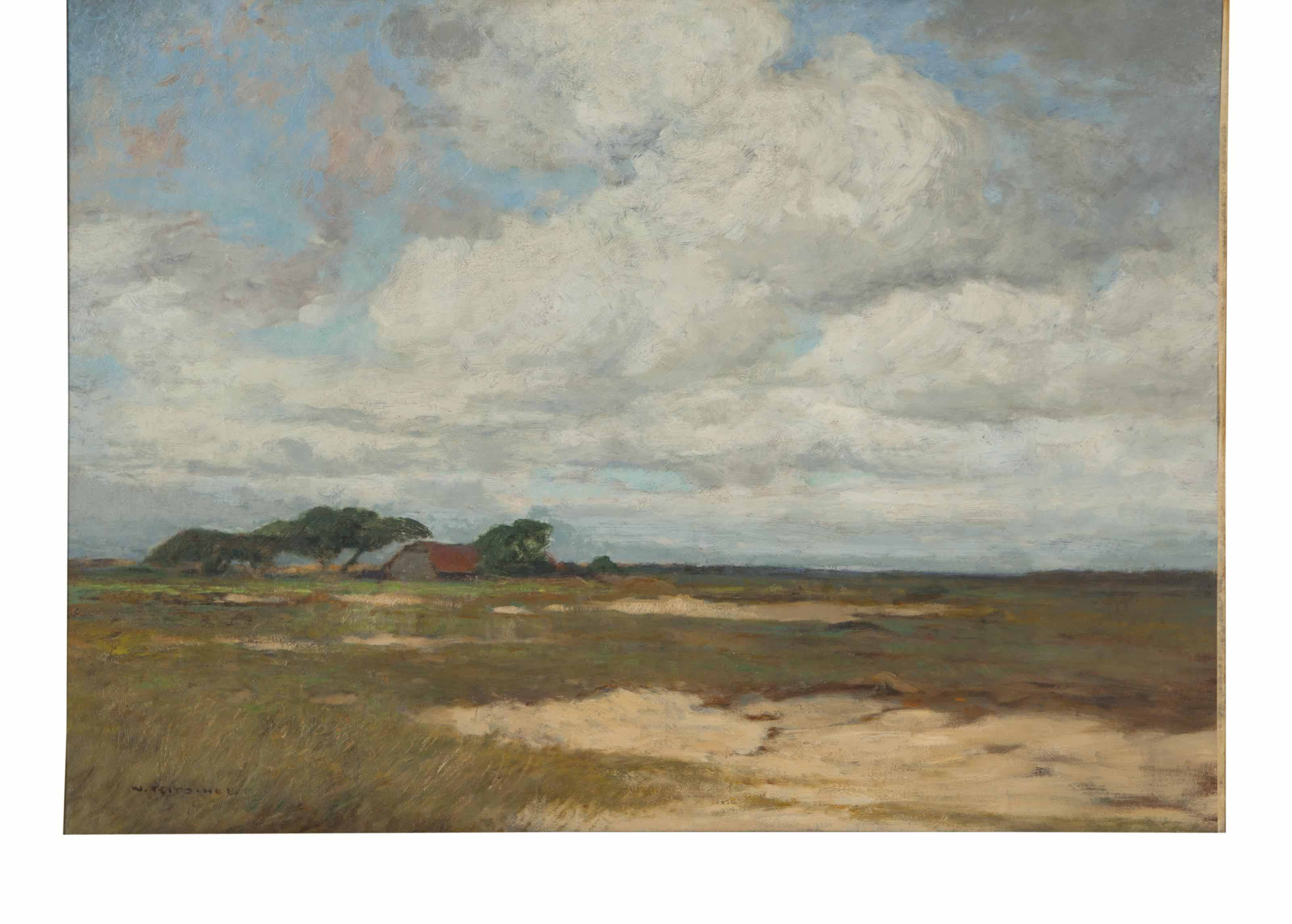 Landscape with barn in the distance