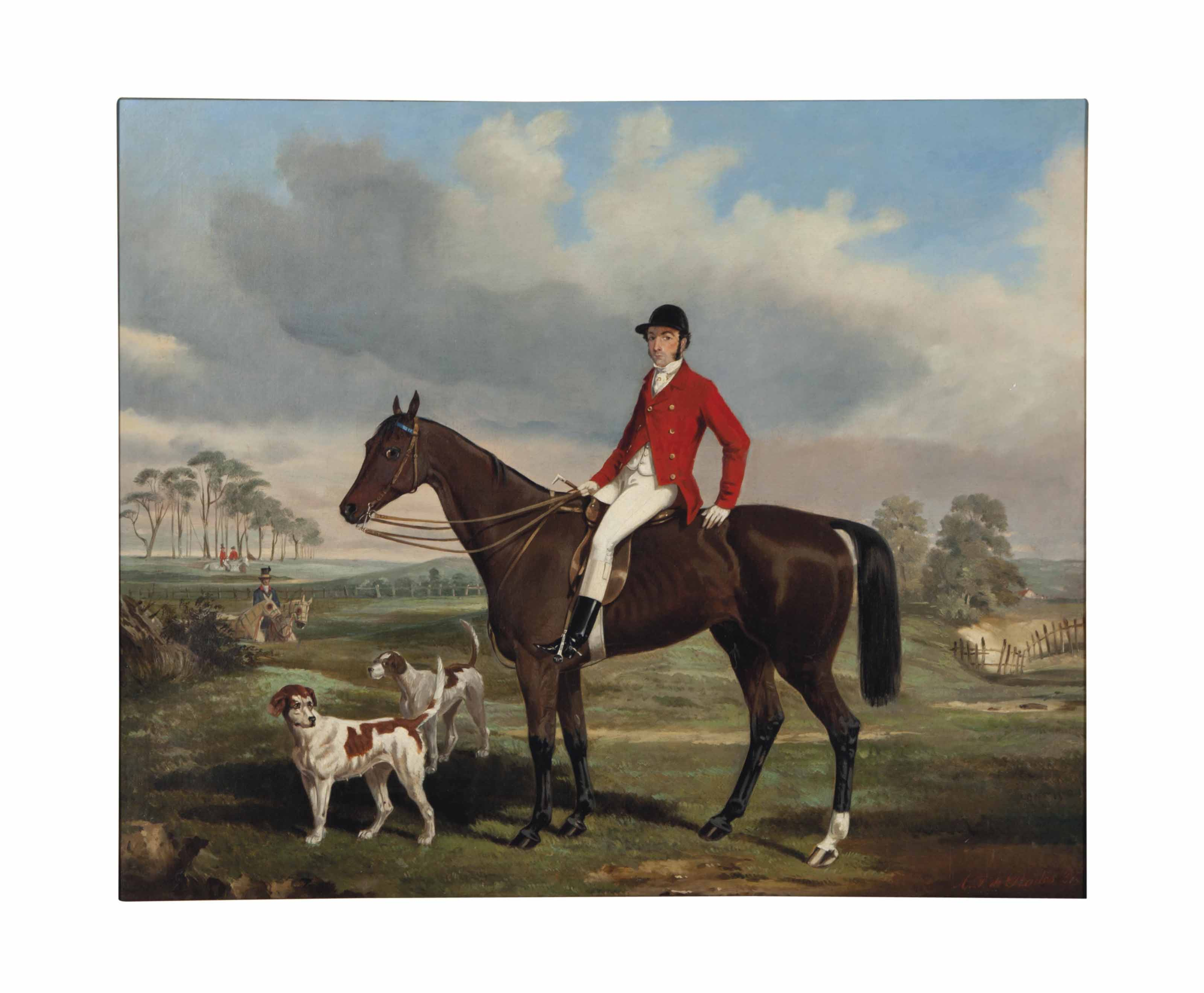 Portrait of William James Fenn-Williams with his hounds; together with a companion painting