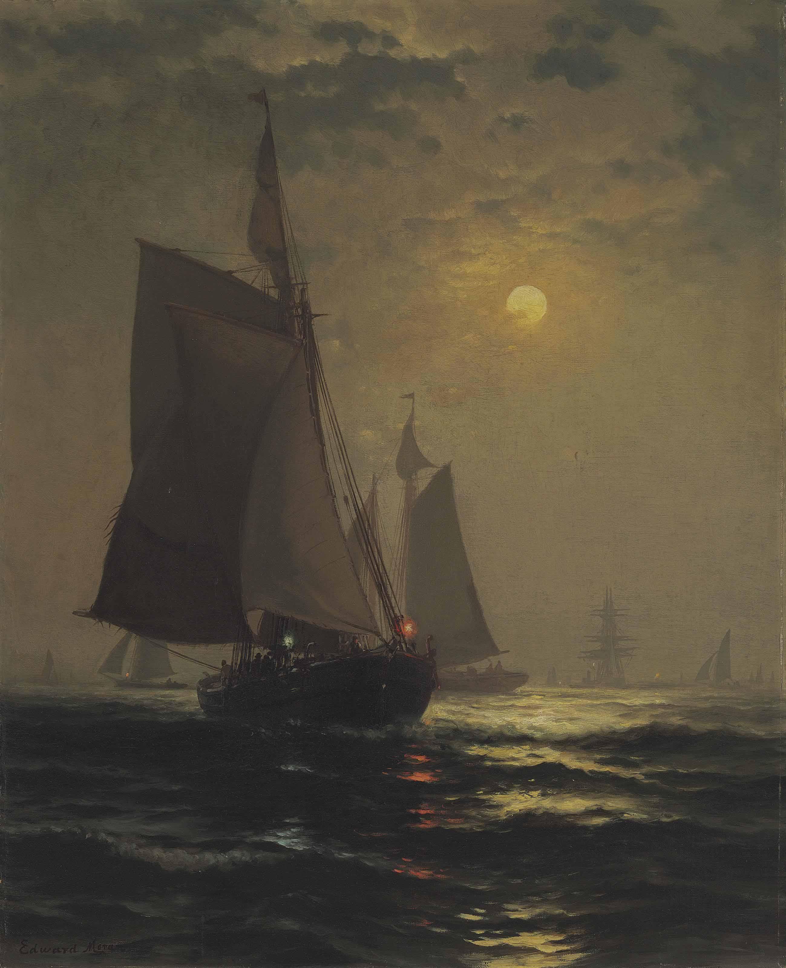 Moonlight in New York Harbor