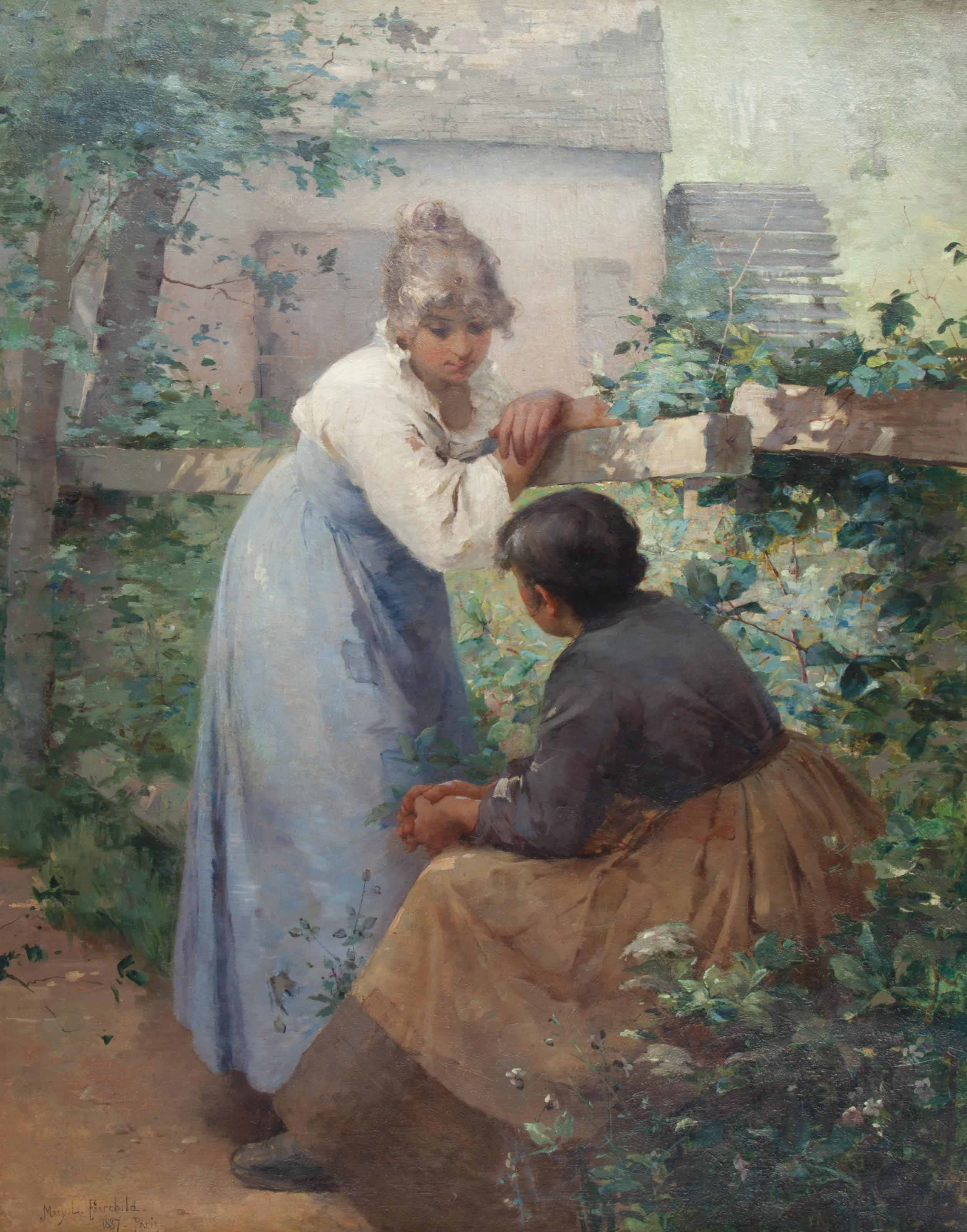 Two Women Chatting in a Garden with a Mill