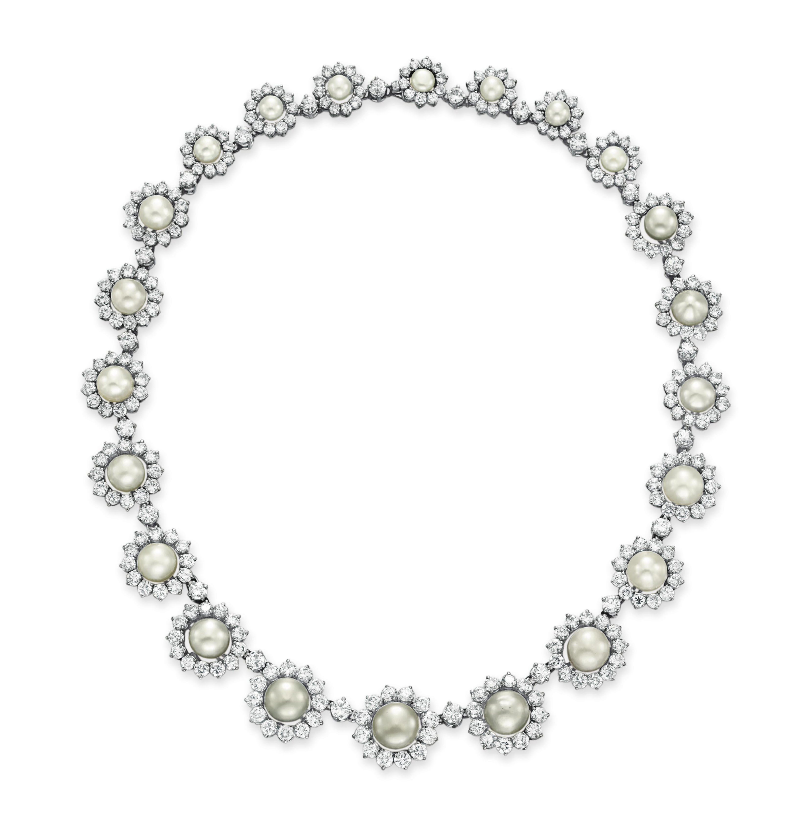 A DIAMOND AND NATURAL PEARL NECKLACE, BY CHANTECLER
