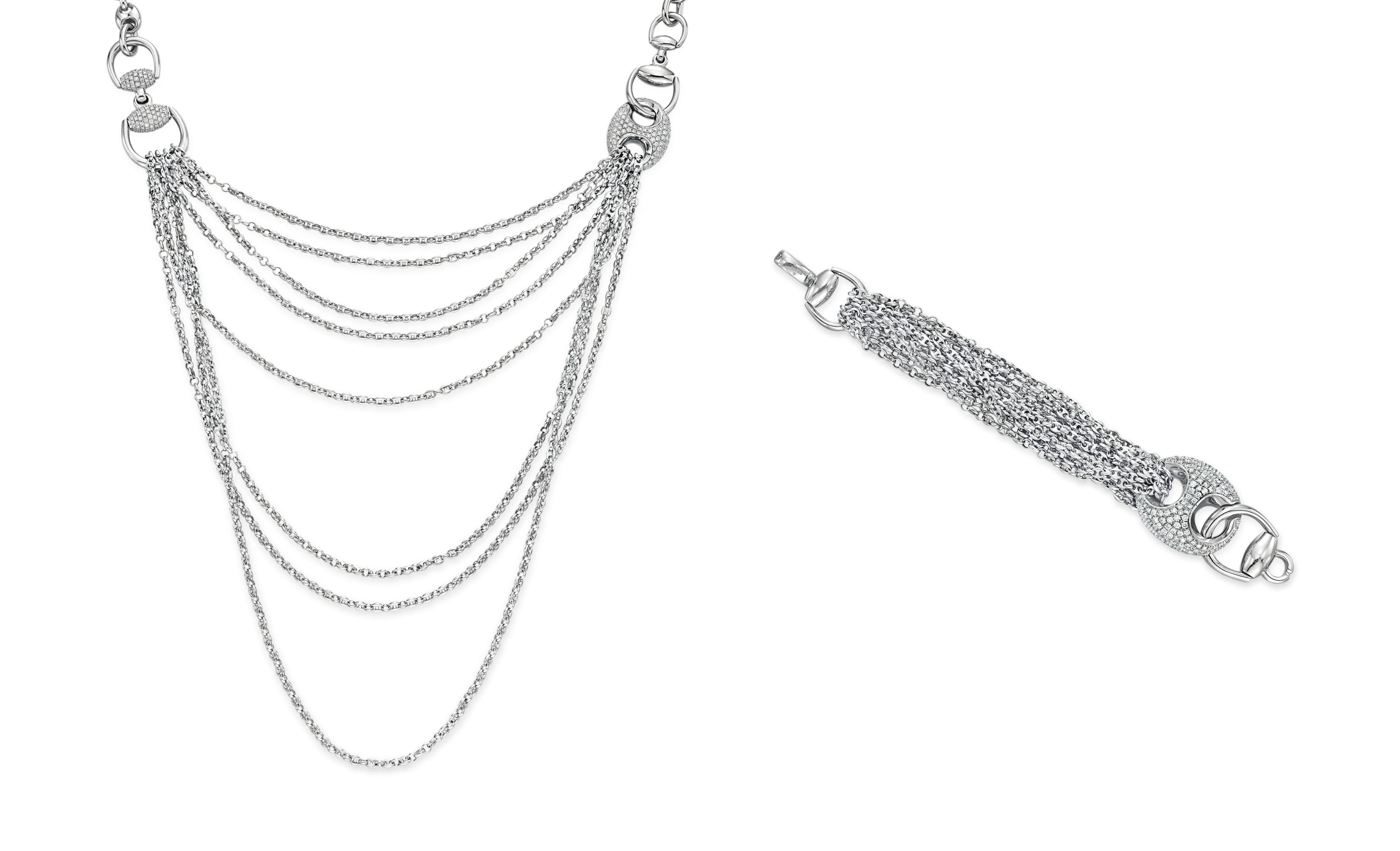 A SET OF DIAMOND AND WHITE GOLD JEWELRY, BY GUCCI