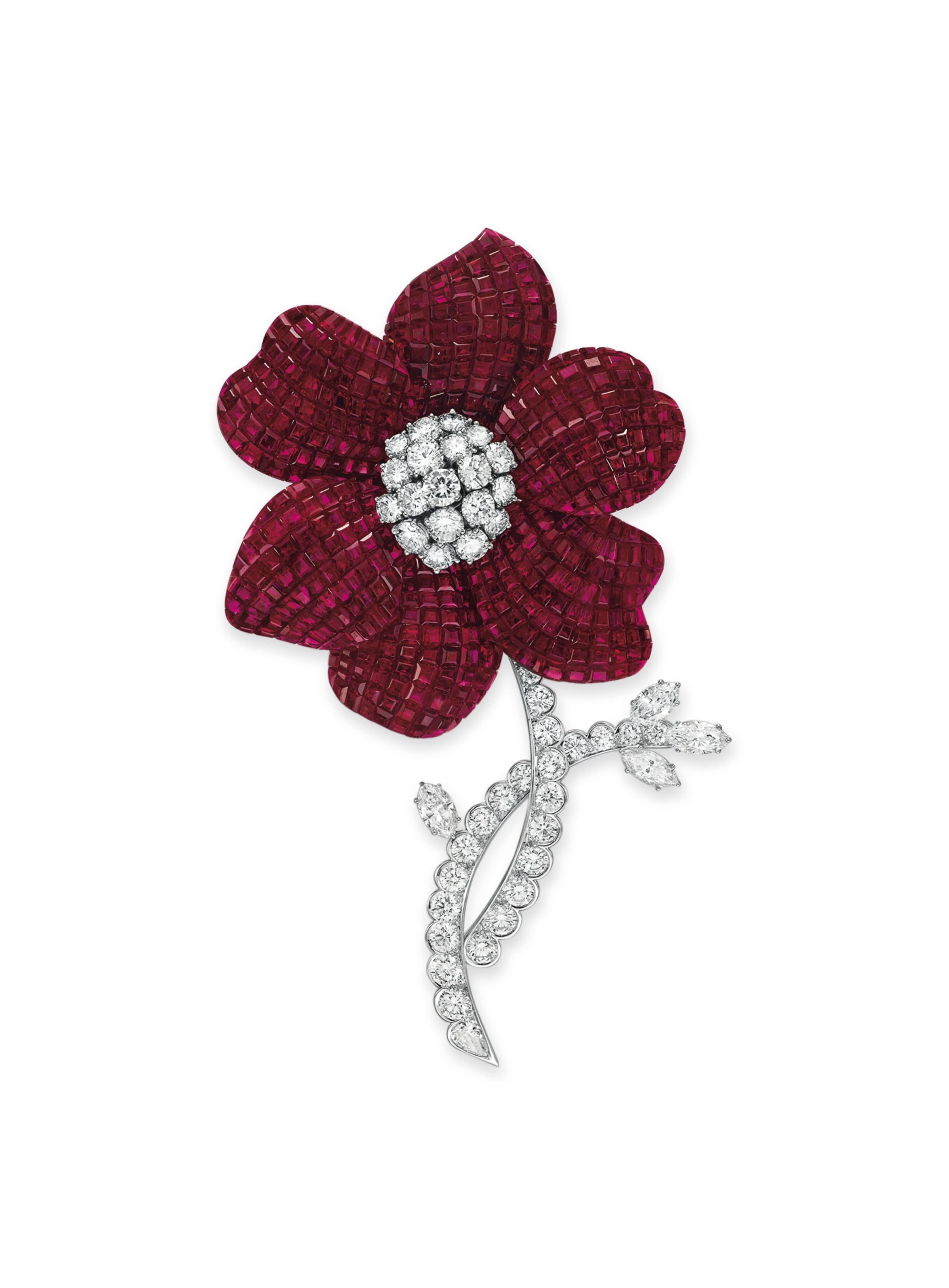 A RUBY AND DIAMOND FLOWER BROOCH, BY ALETTO BROTHERS