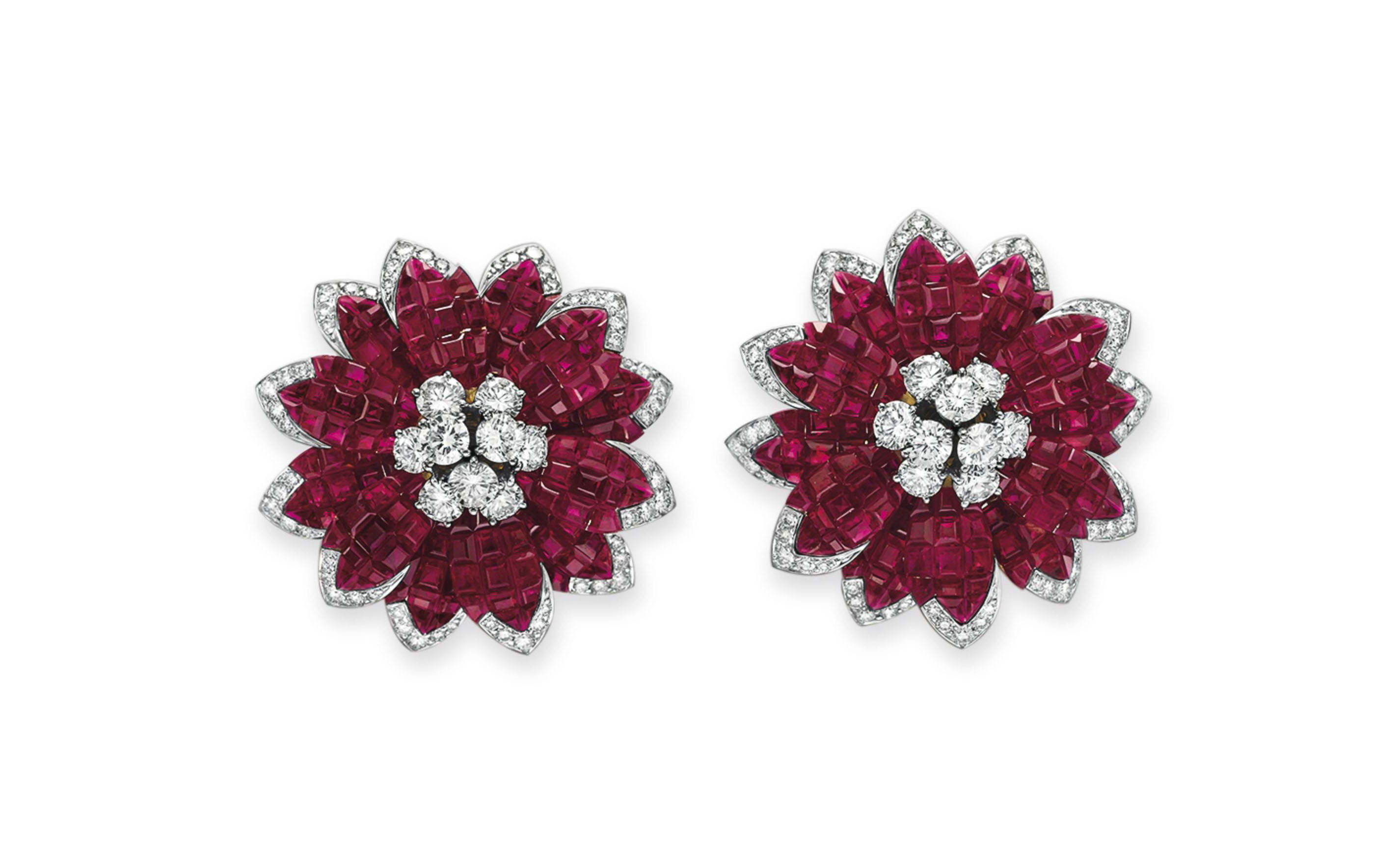 A PAIR OF RUBY AND DIAMOND FLOWER EAR CLIPS, BY ALETTO BROTHERS