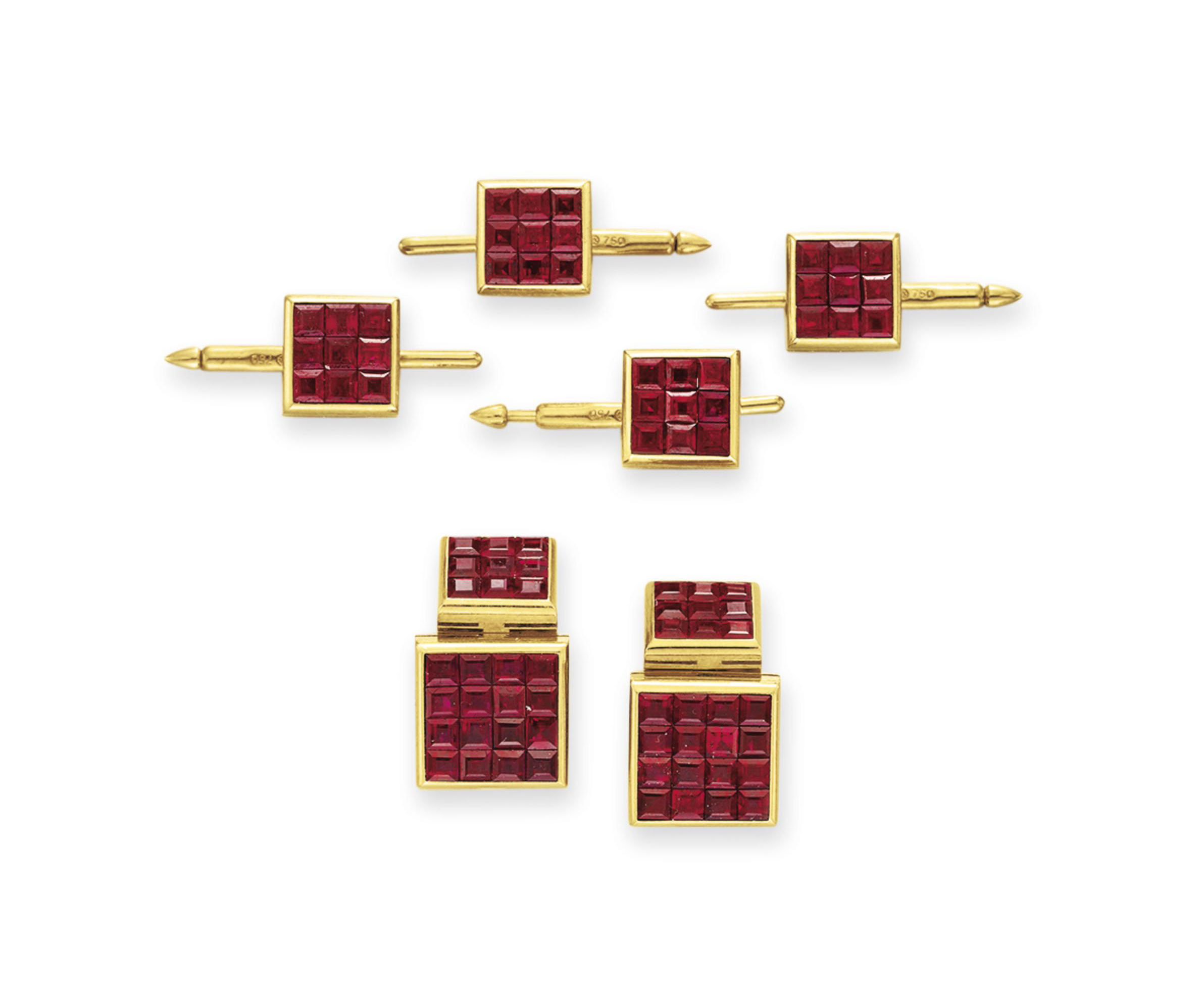 A RUBY AND GOLD DRESS SET, BY ALETTO BROTHERS