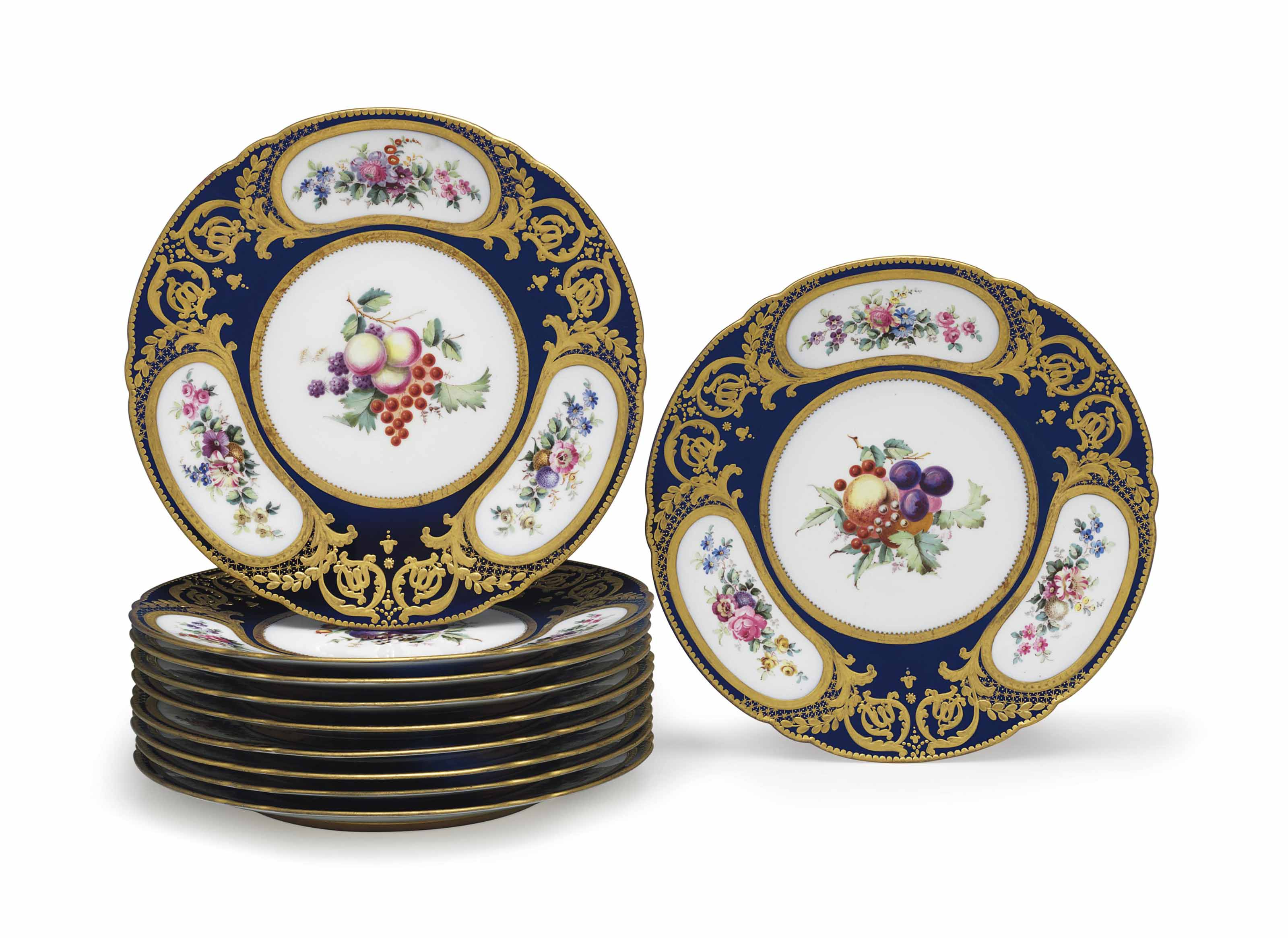 TEN COPELANDS PORCELAIN COBALT-BLUE GROUND PLATES