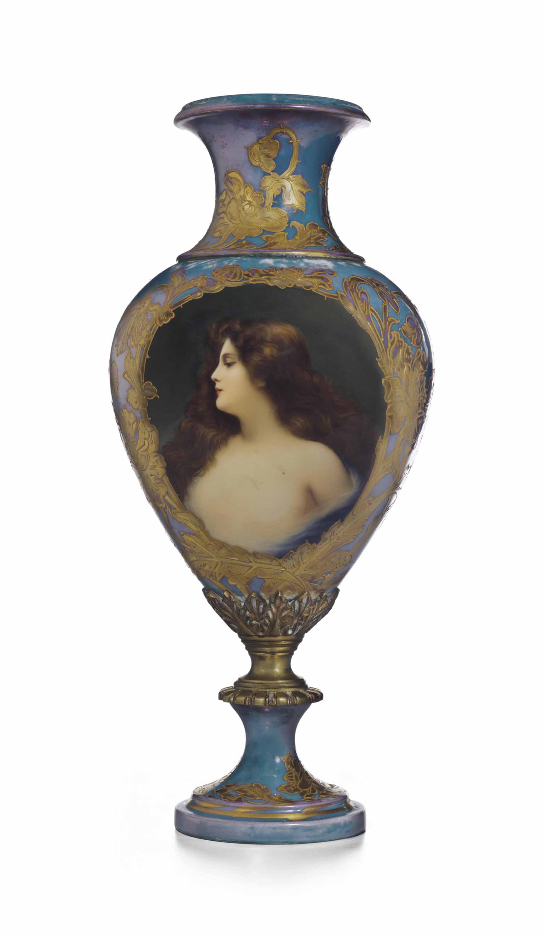 AN ORMOLU-MOUNTED VIENNA STYLE PORCELAIN IRIDESCENT-BLUE GROUND PORTRAIT VASE
