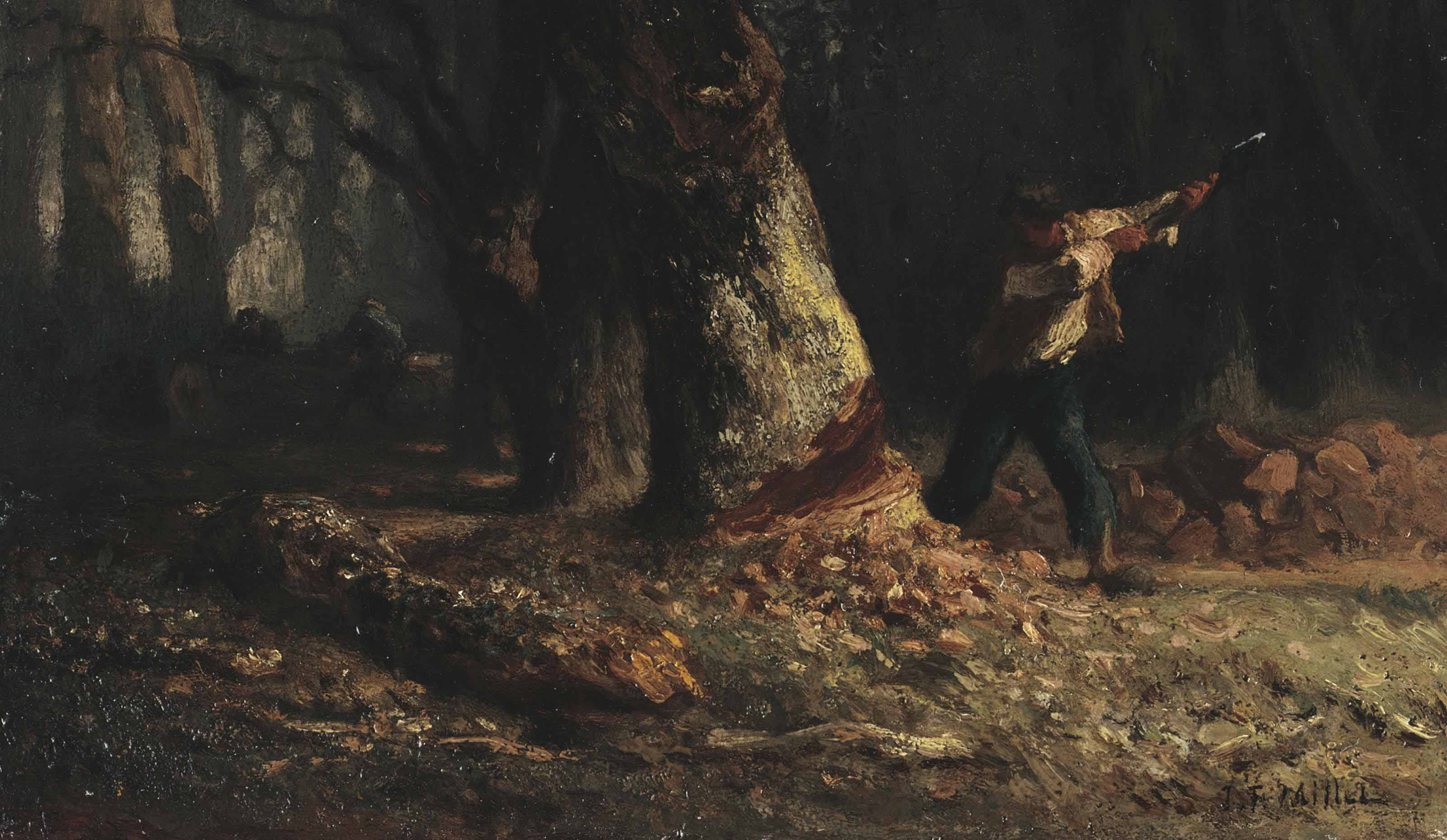 Woodcutter in the Forest and Young Woman taking Linens from a Shelf: a double-sided work