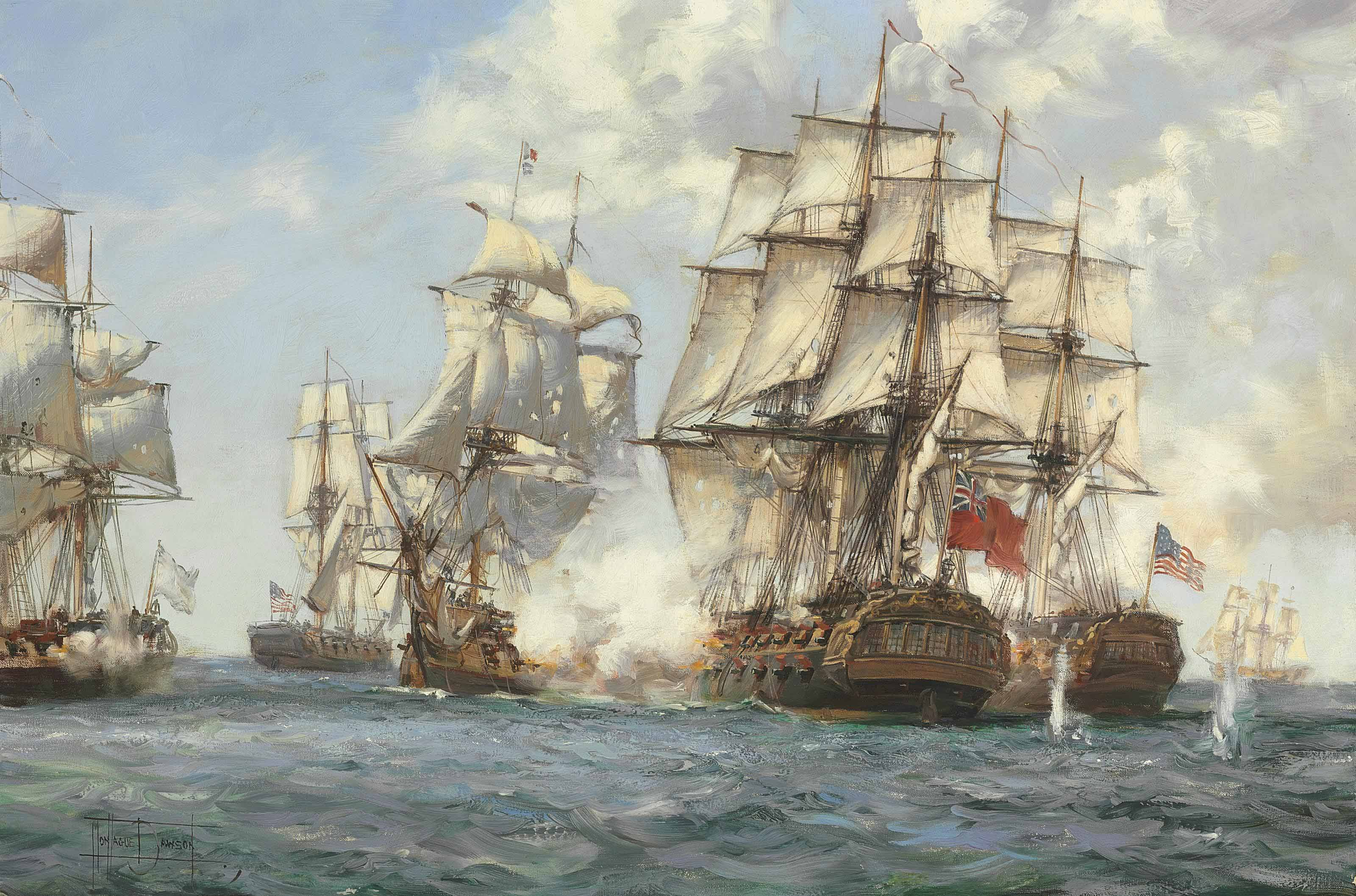 Engagement between Mediator and three French and two American Ships