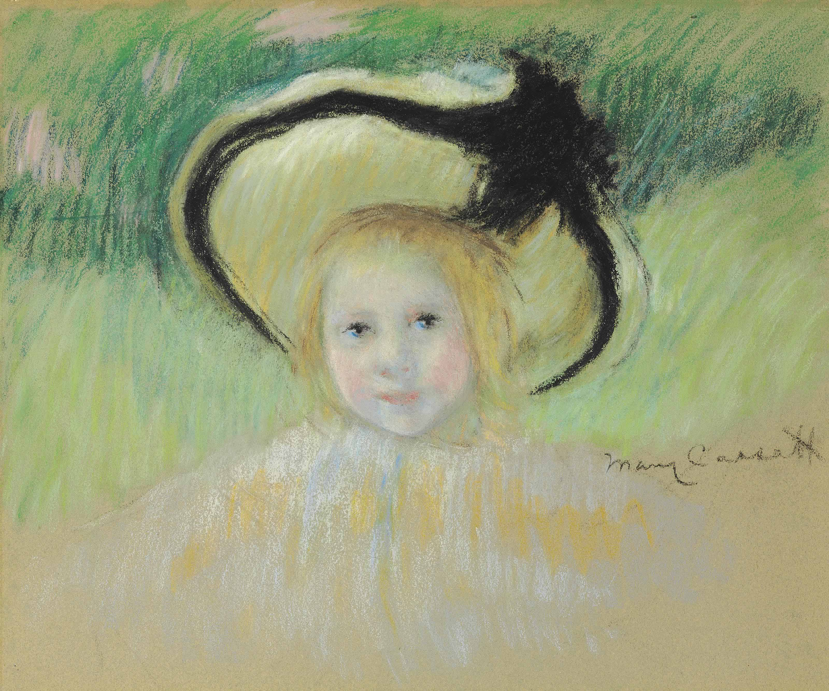 Girl in a Hat with a Black Ribbon