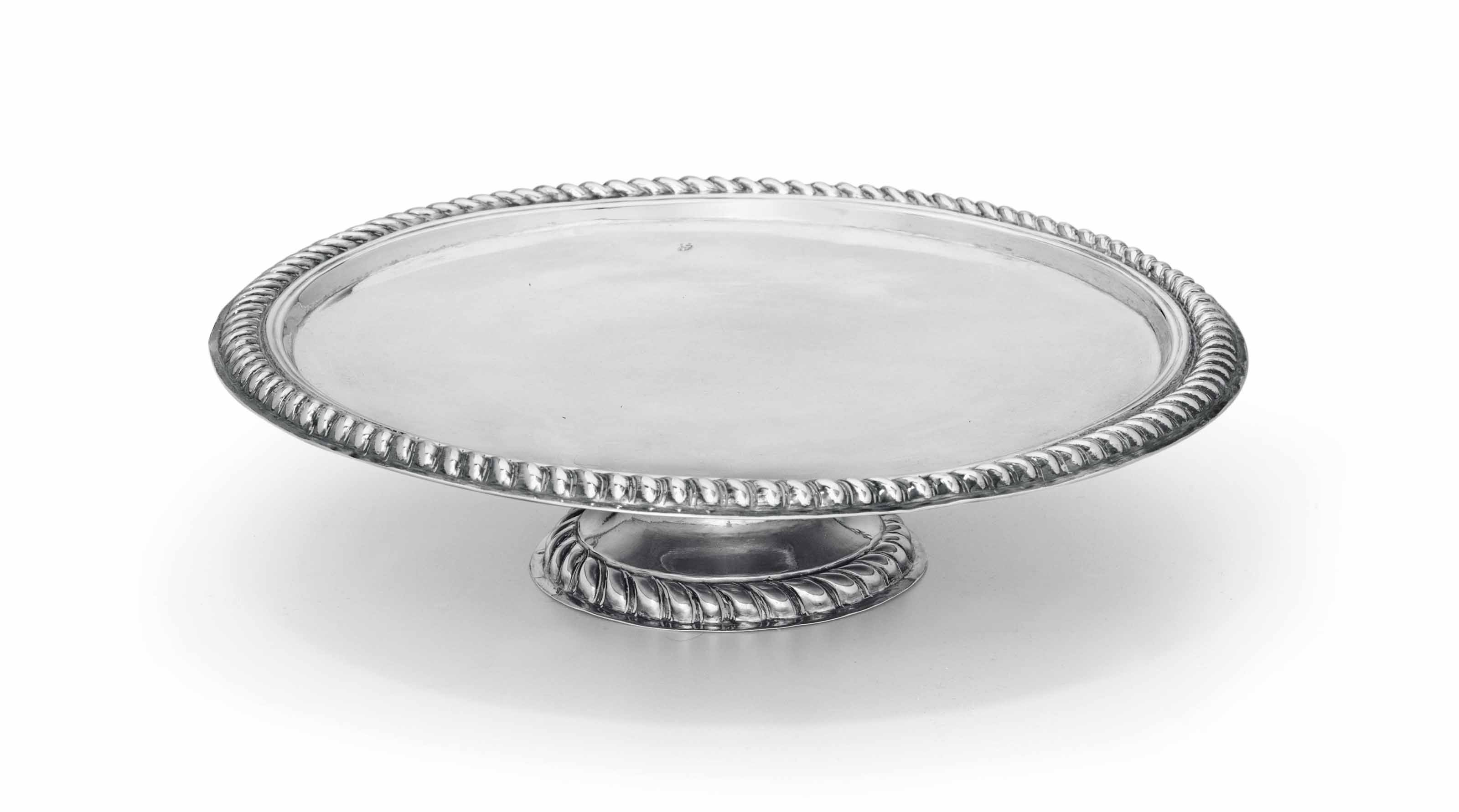 AN AMERICAN SILVER FOOTED SALVER